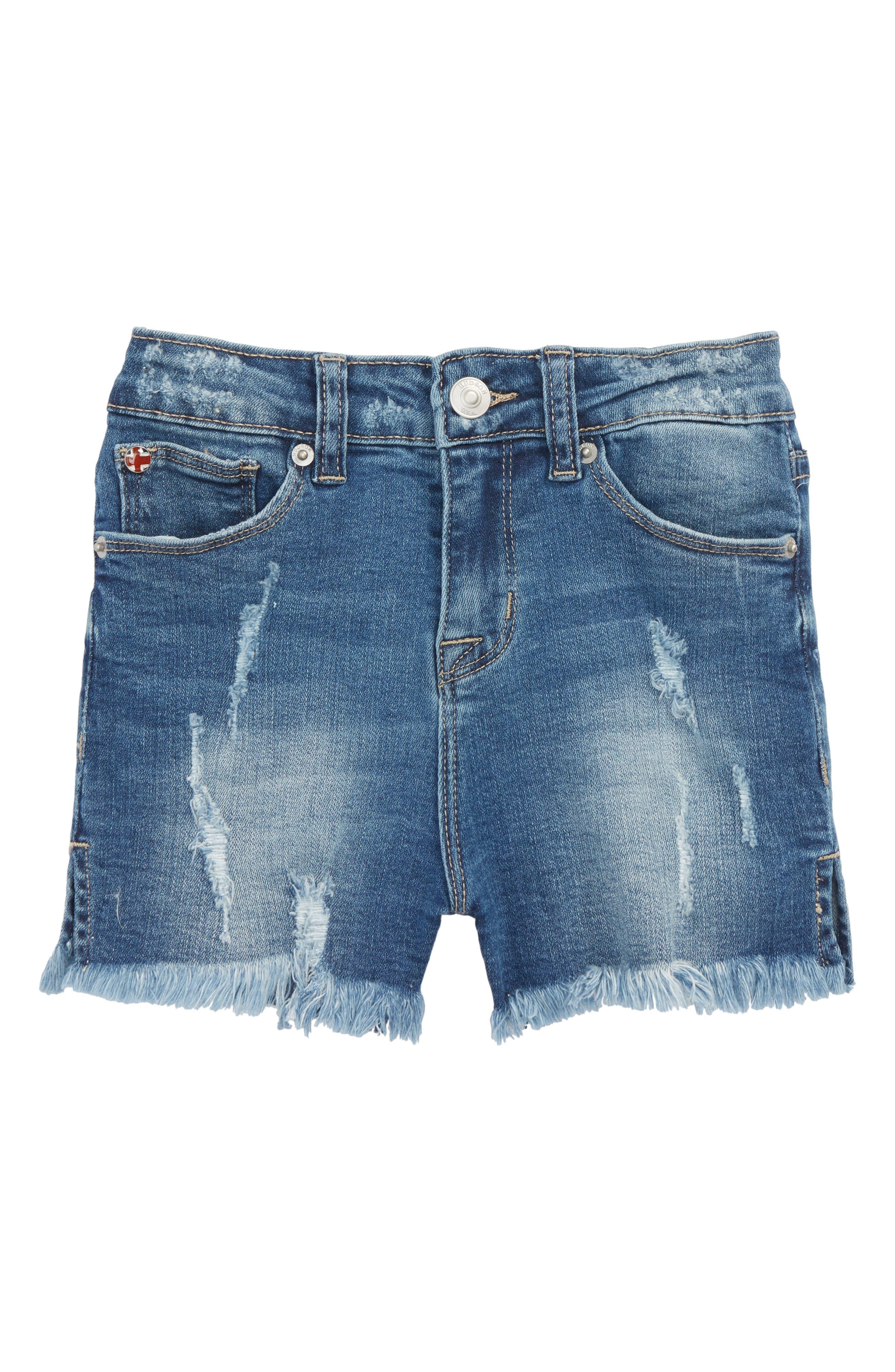 Lily High Waist Cutoff Denim Shorts,                         Main,                         color, Iom-Indigo Mix