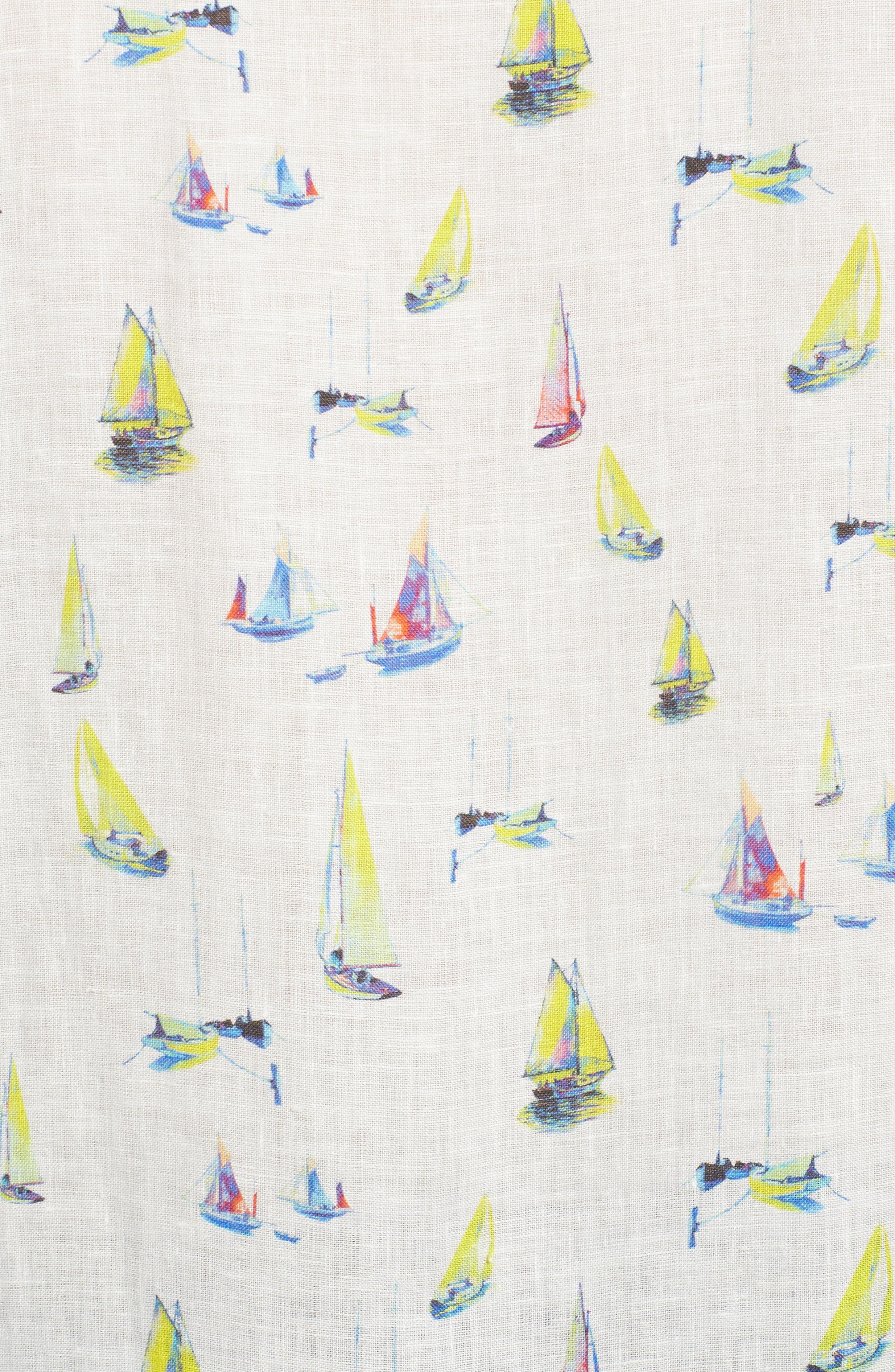 Shaped Fit Sailboat Linen Sport Shirt,                             Alternate thumbnail 5, color,                             Chalk