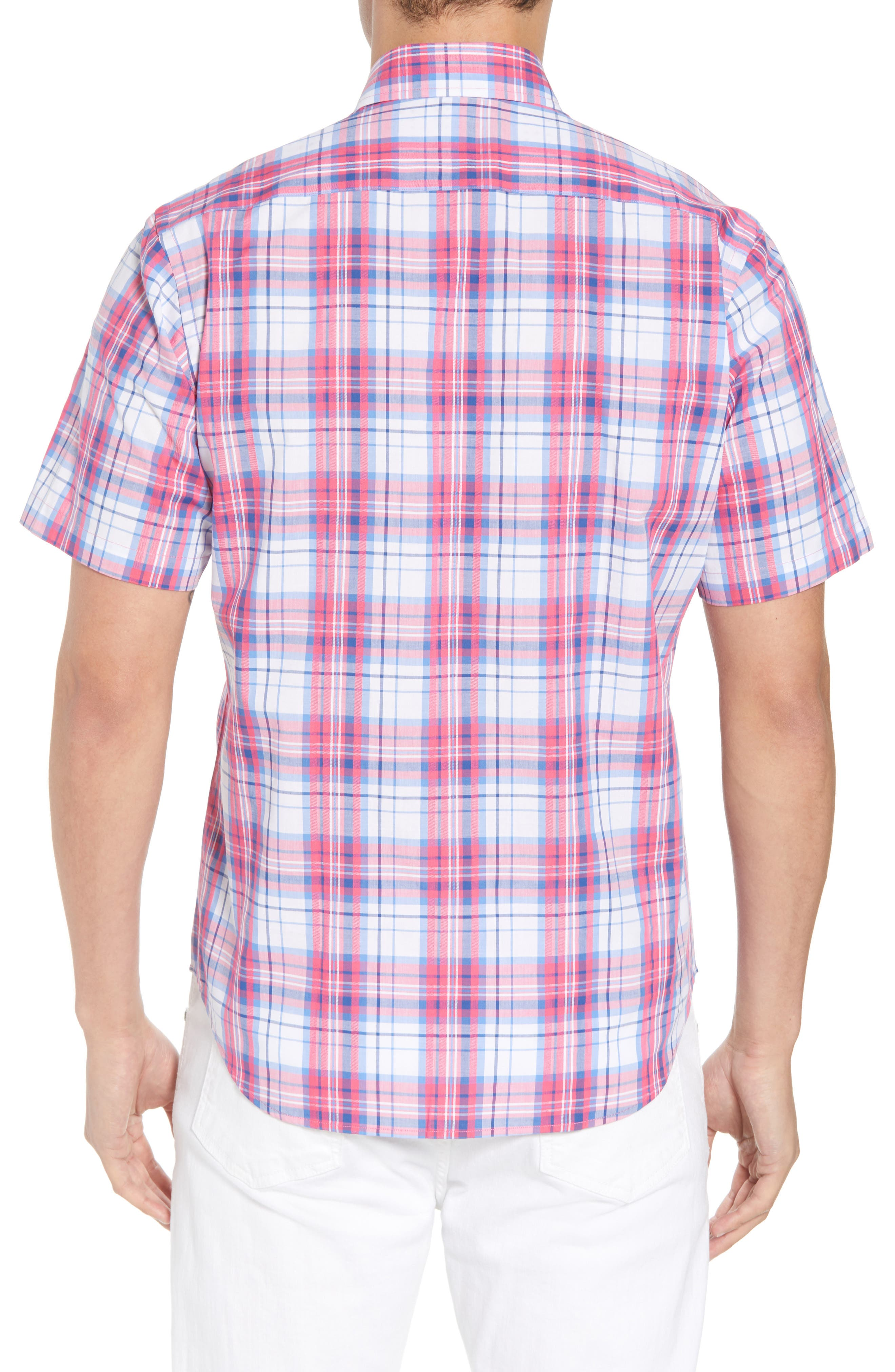 Alesso Regular Fit Plaid Sport Shirt,                             Alternate thumbnail 3, color,                             Coral