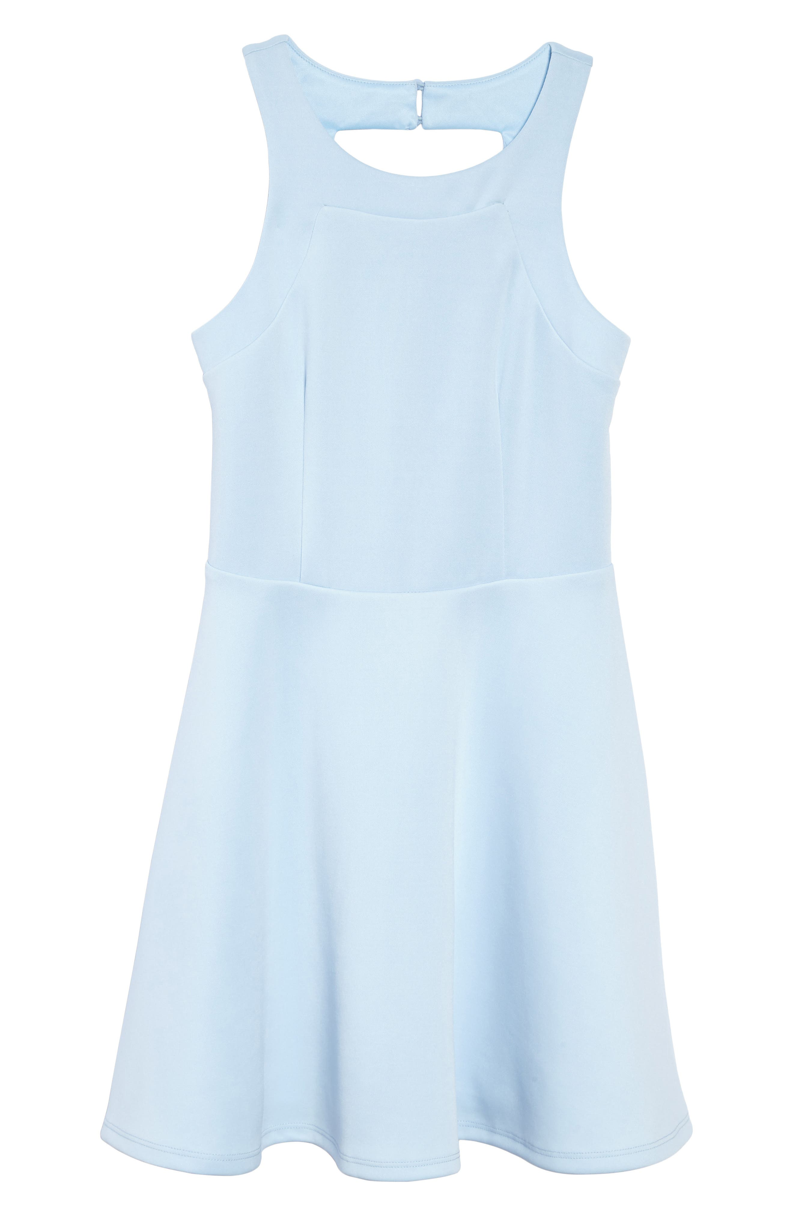 Heather Open Back Scuba Dress,                         Main,                         color, Blue