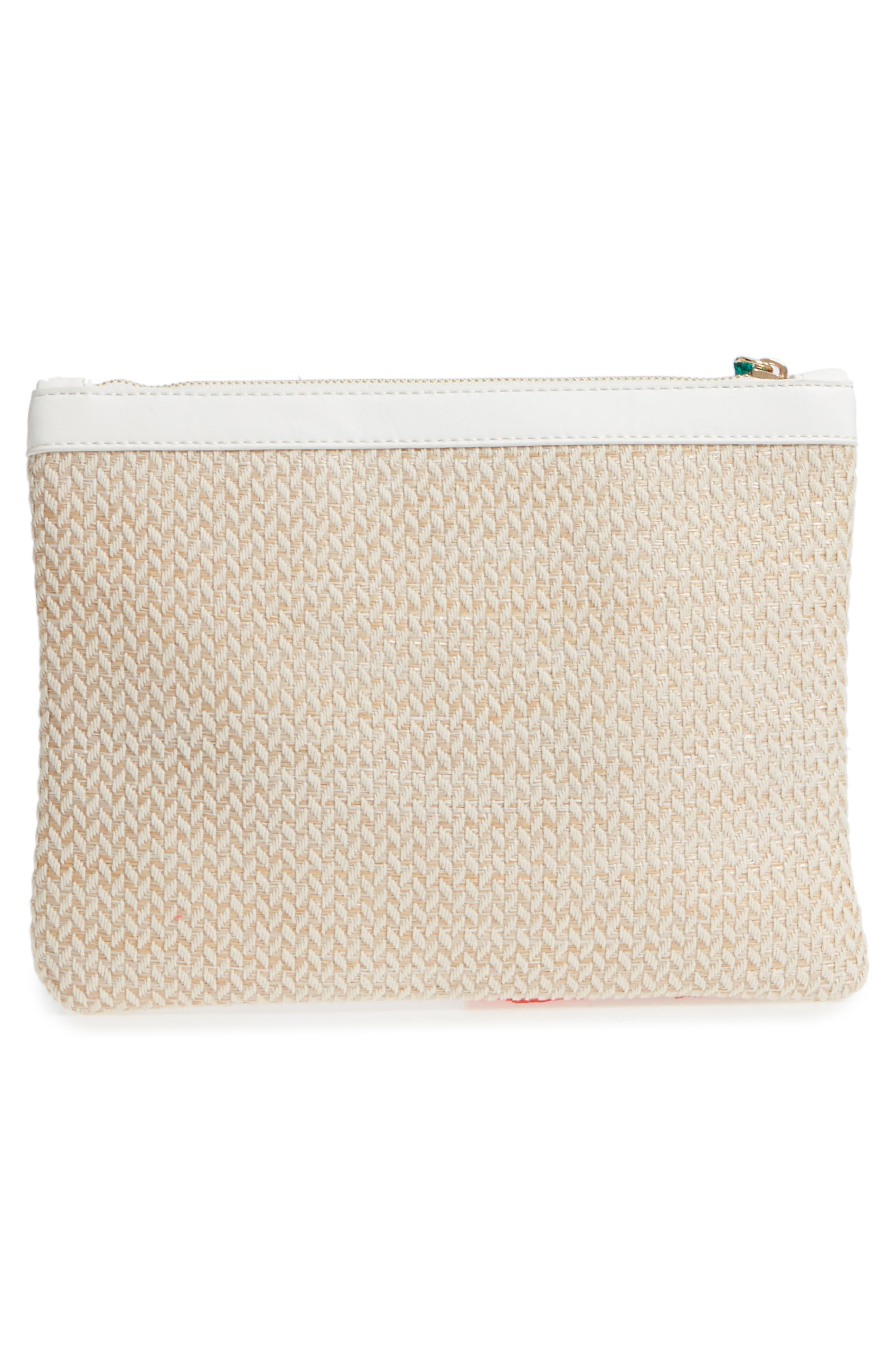 Tasseled Fabric Zip Pouch,                             Alternate thumbnail 3, color,                             White/ Natural
