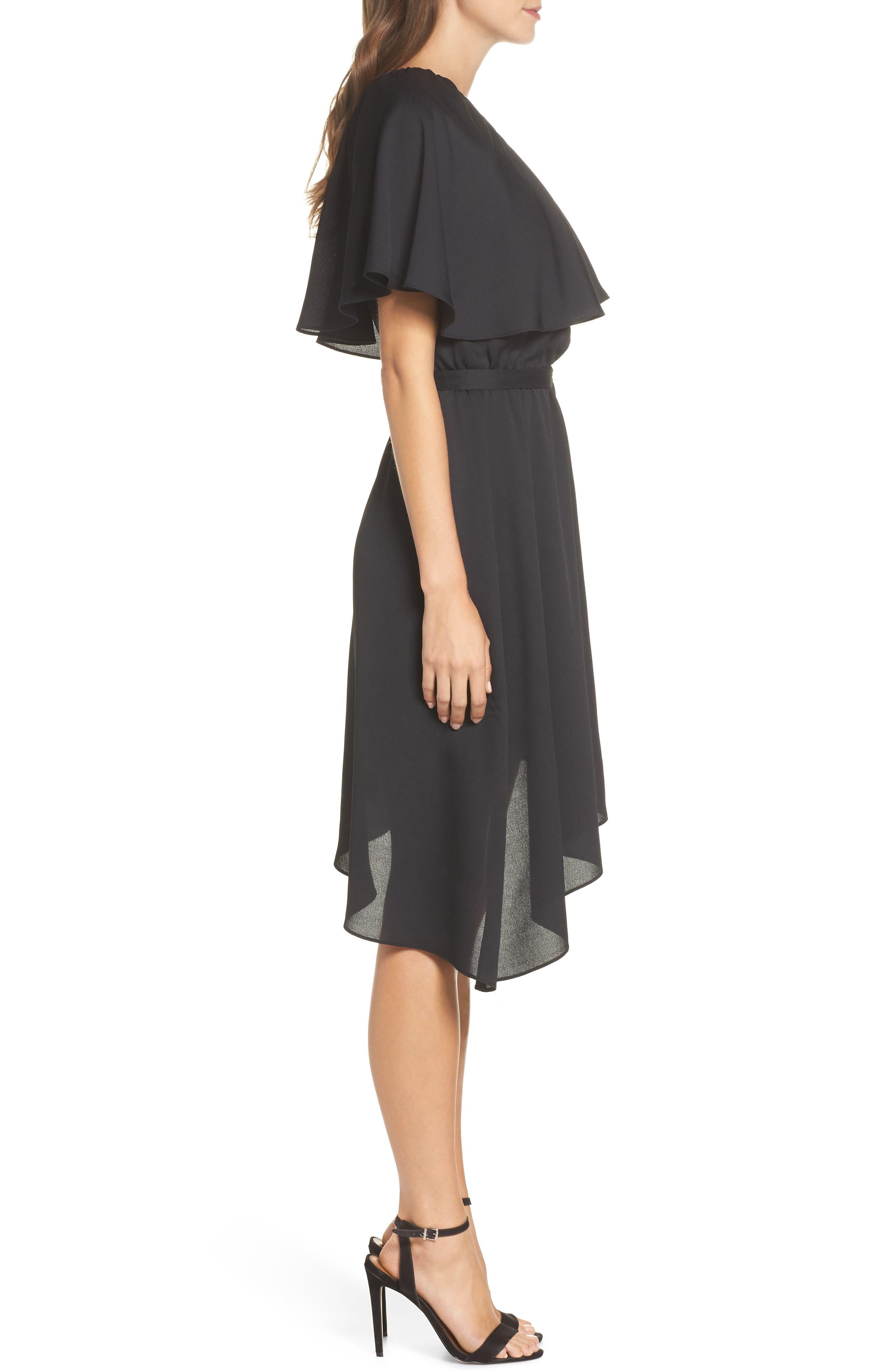 One-Shoulder Asymmetrical Dress,                             Alternate thumbnail 3, color,                             Black