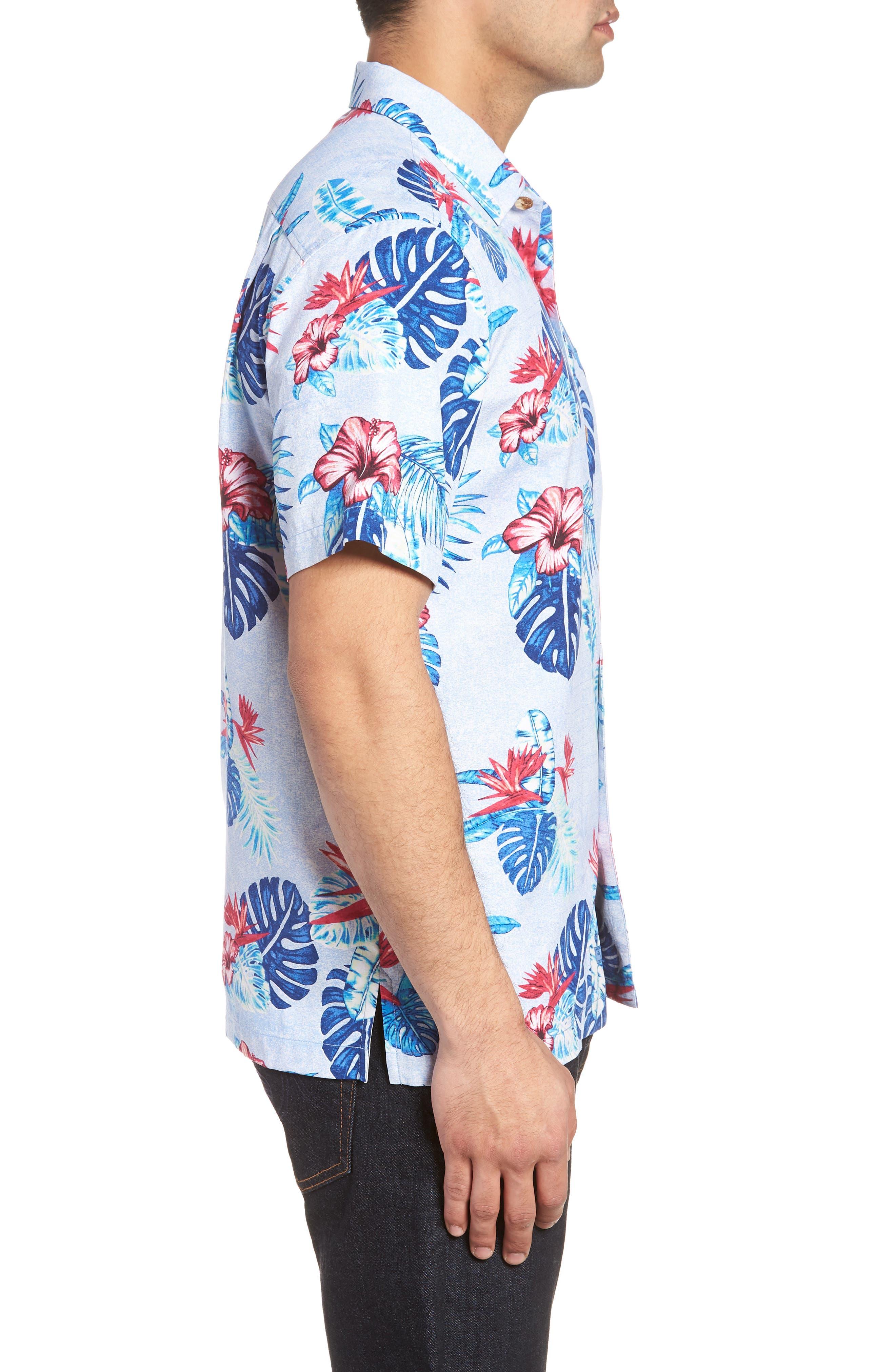 Casa Rosa Floral Print Silk Shirt,                             Alternate thumbnail 4, color,                             Light Sky