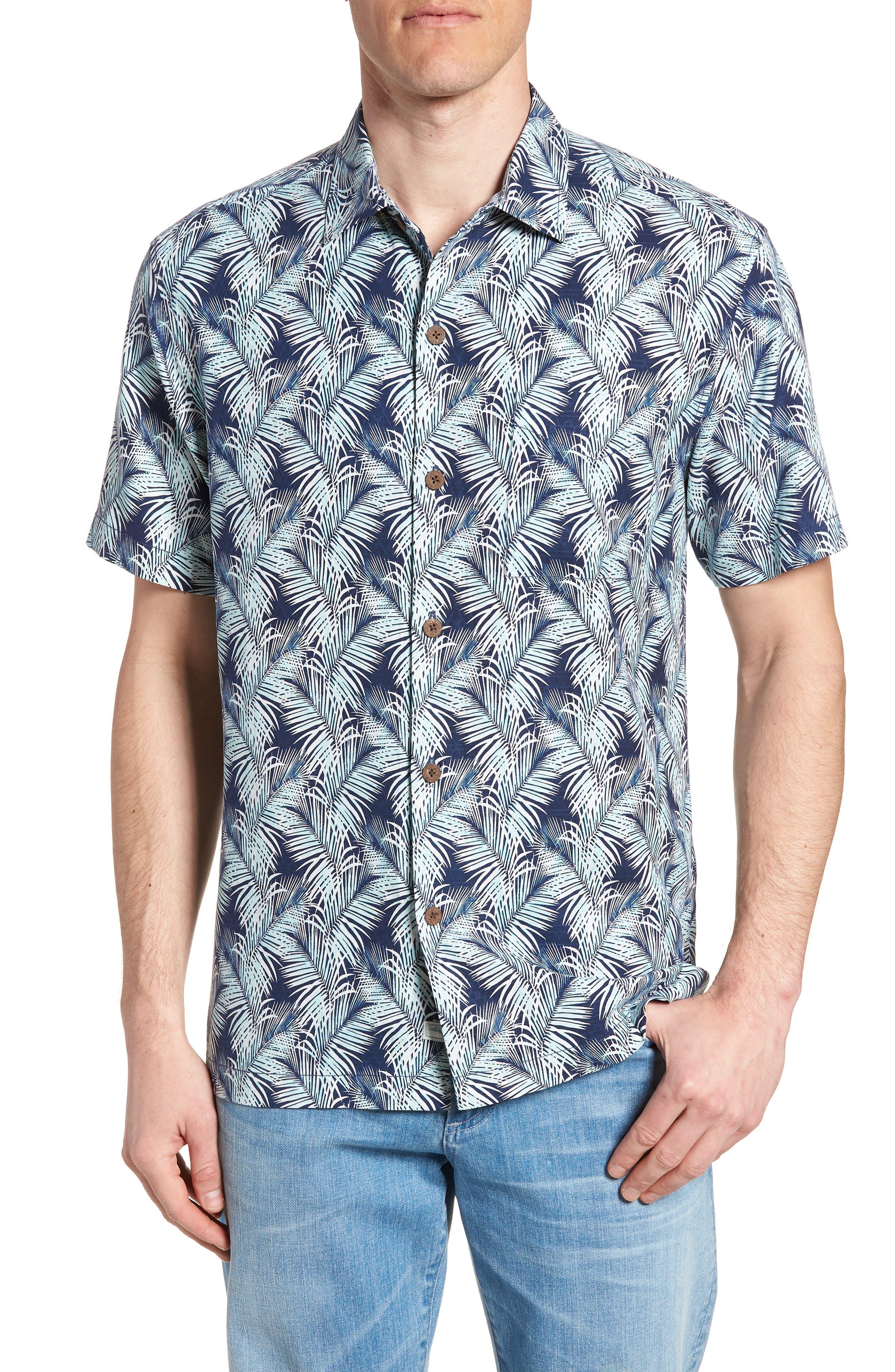 Palms of Tulum Silk Camp Shirt,                         Main,                         color, Ocean Deep
