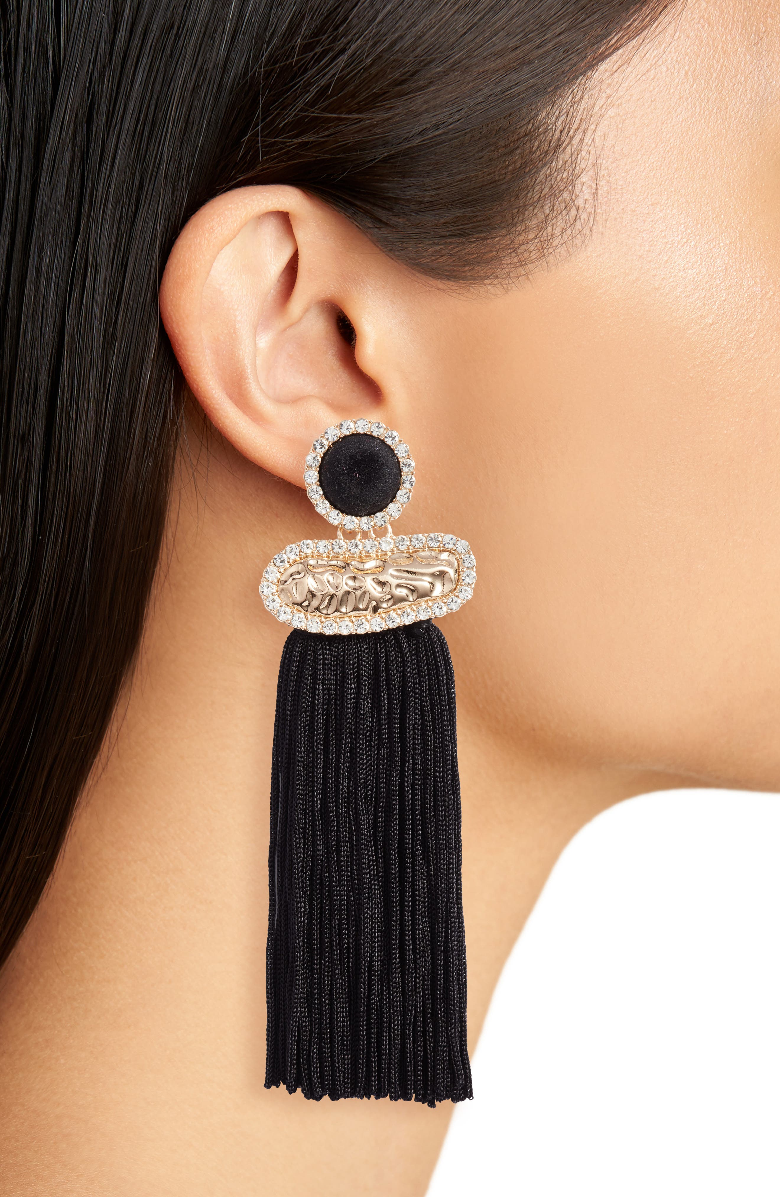 Textured Metal Fringe Earrings,                             Alternate thumbnail 2, color,                             Black