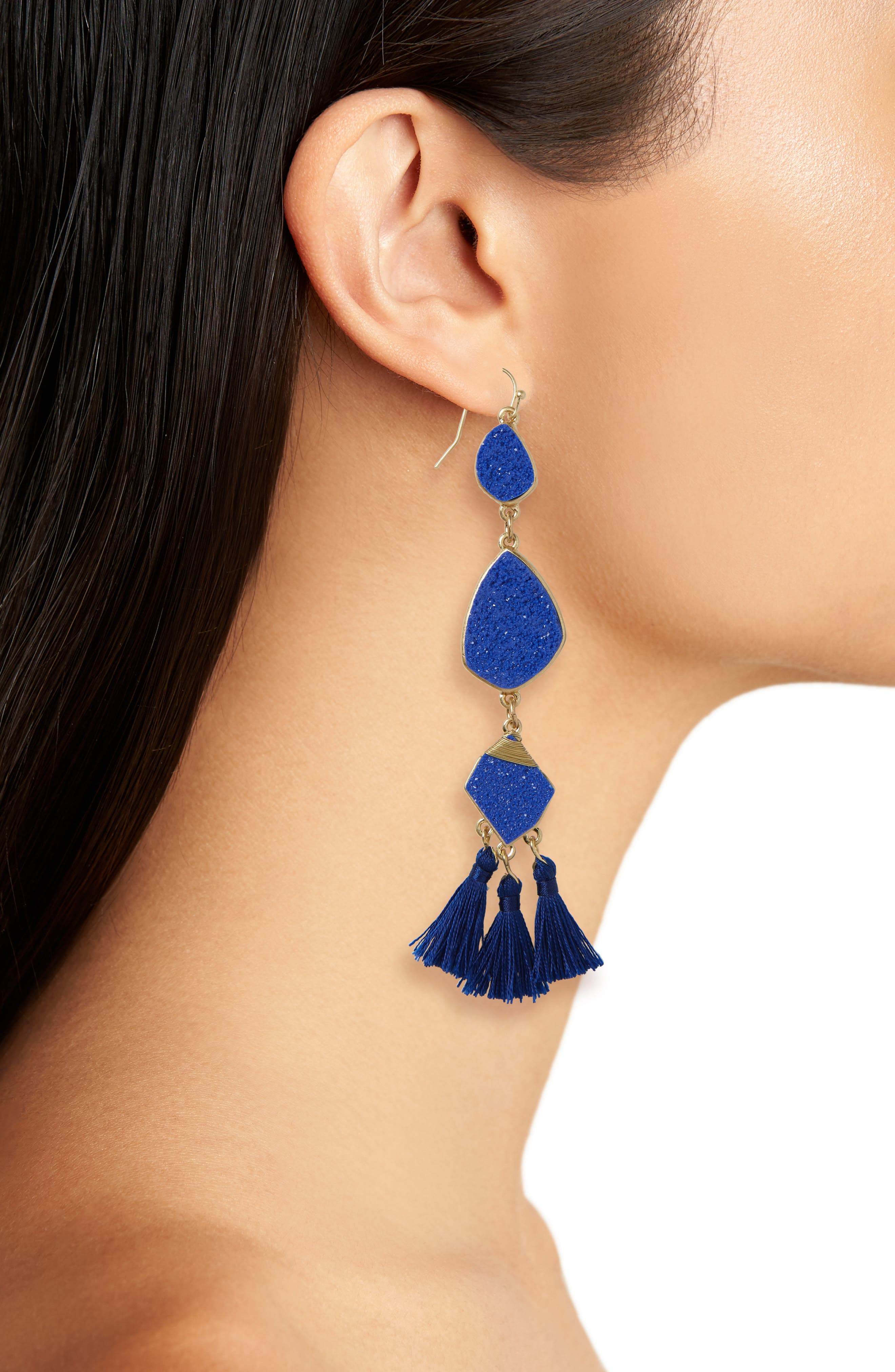 Drusy Tassel Earrings,                             Alternate thumbnail 2, color,                             Cobalt