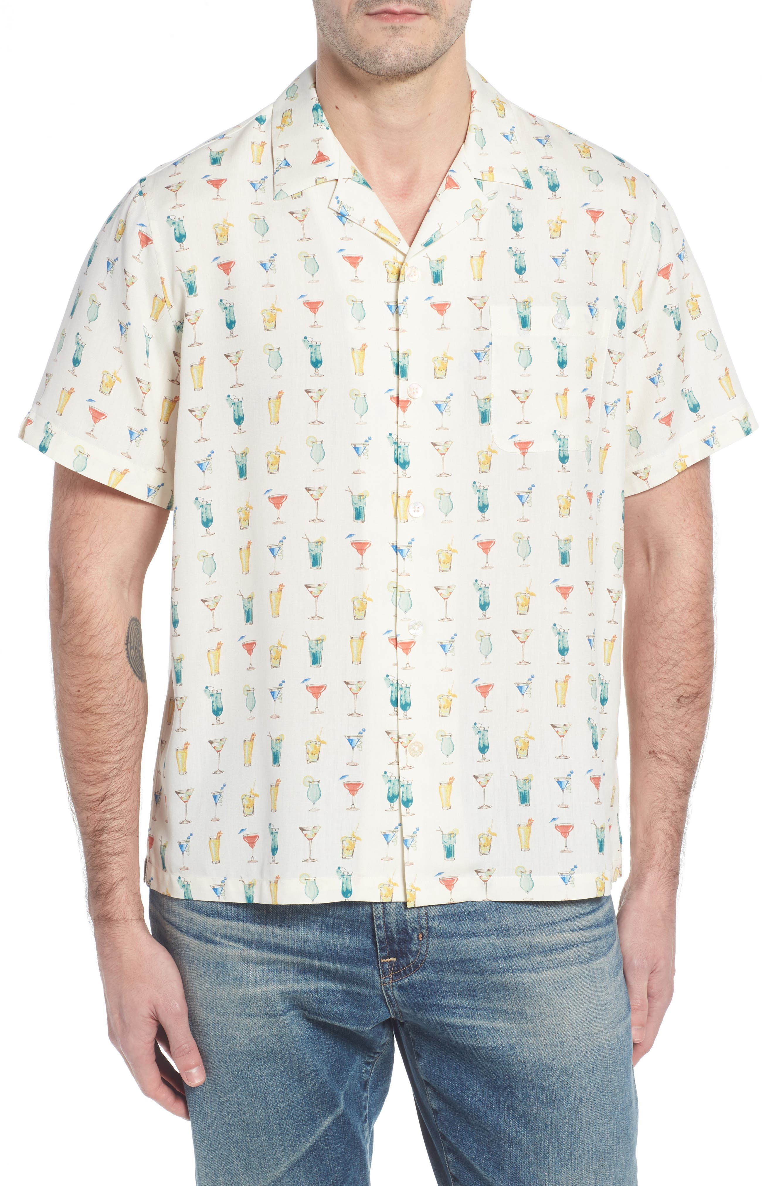 Mixalot Trim Fit Silk Blend Camp Shirt,                         Main,                         color, Off White