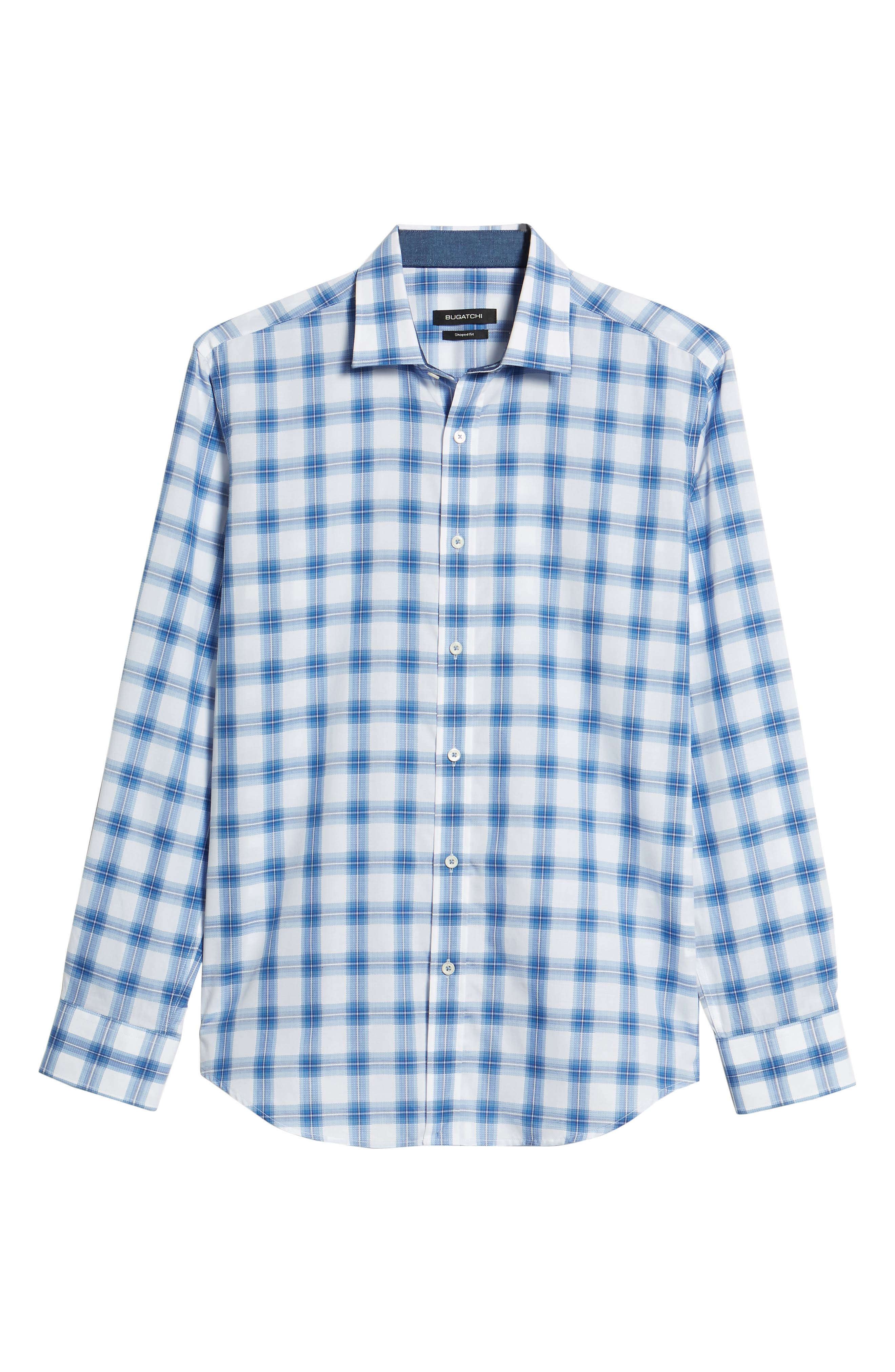 Shaped Fit Plaid Sport Shirt,                             Alternate thumbnail 6, color,                             Classic Blue