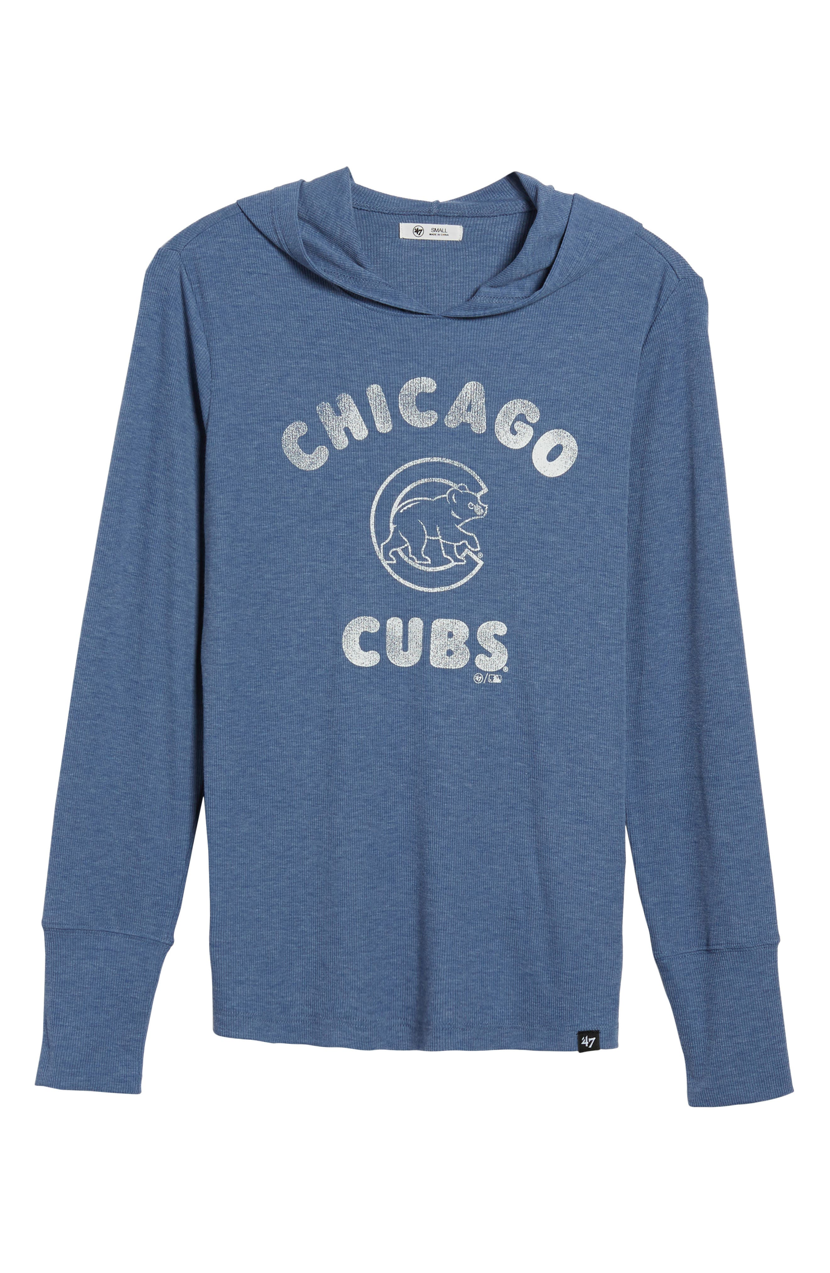 Campbell Chicago Cubs Rib Knit Hoodie,                             Alternate thumbnail 7, color,                             Bleacher Blue
