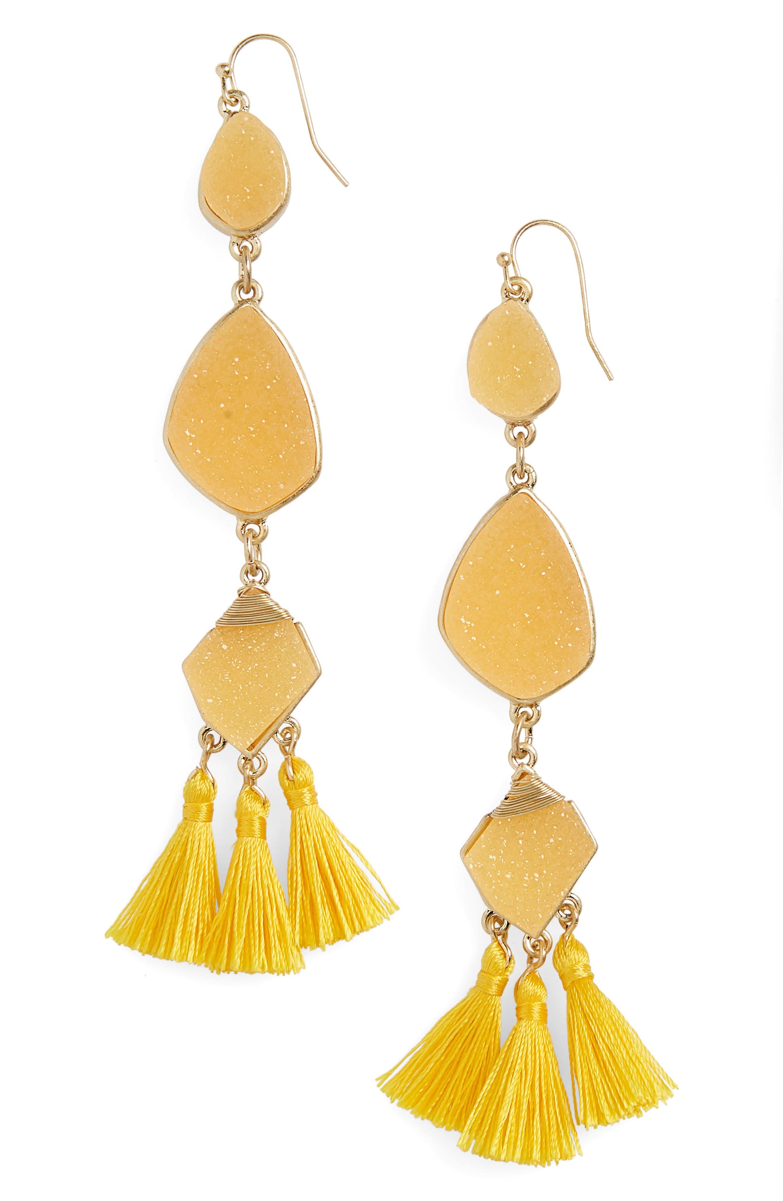 Drusy Tassel Earrings,                             Main thumbnail 1, color,                             Yellow