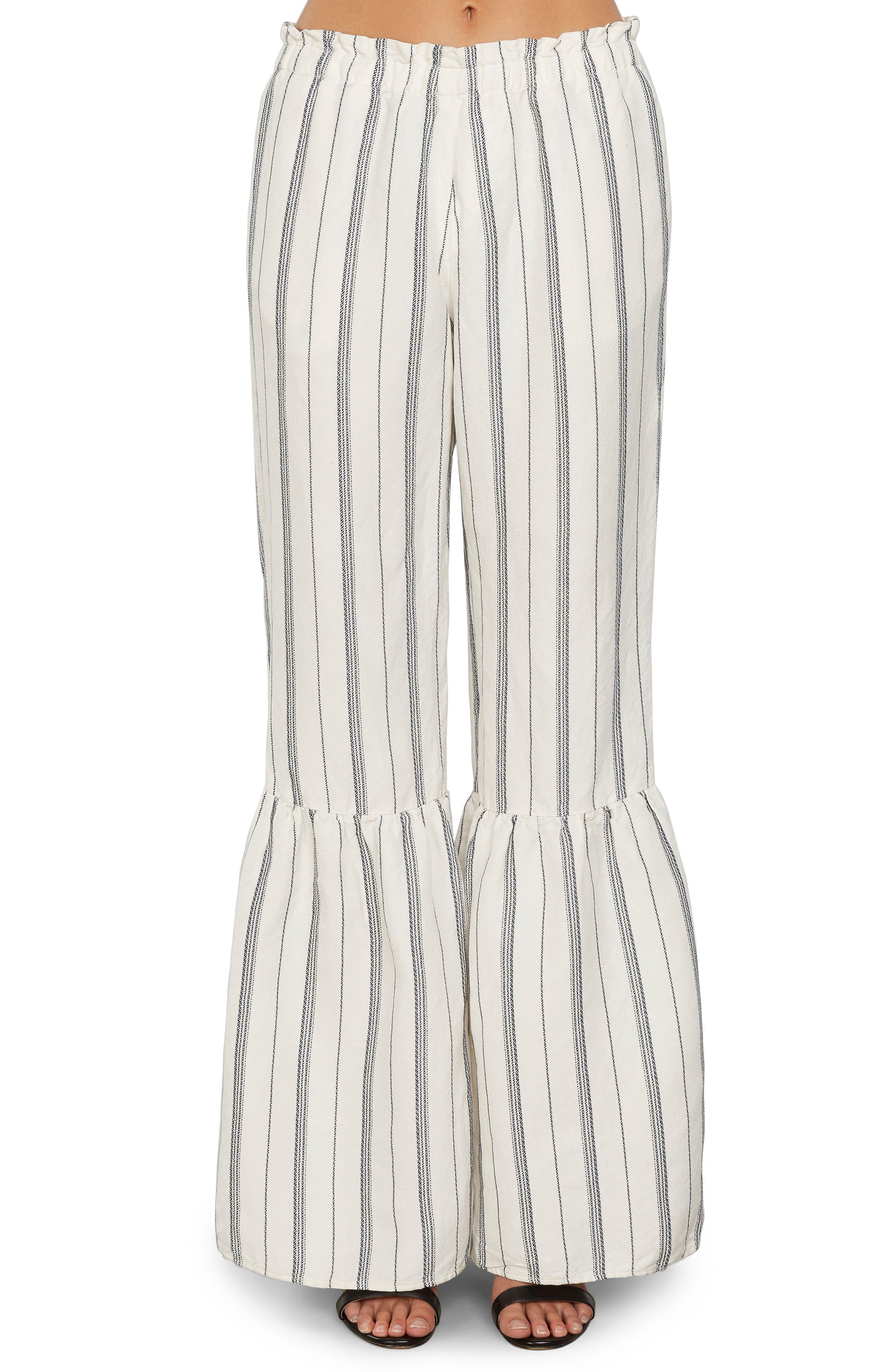 Stripe Ruffle Flare Pants,                             Main thumbnail 1, color,                             Ivory
