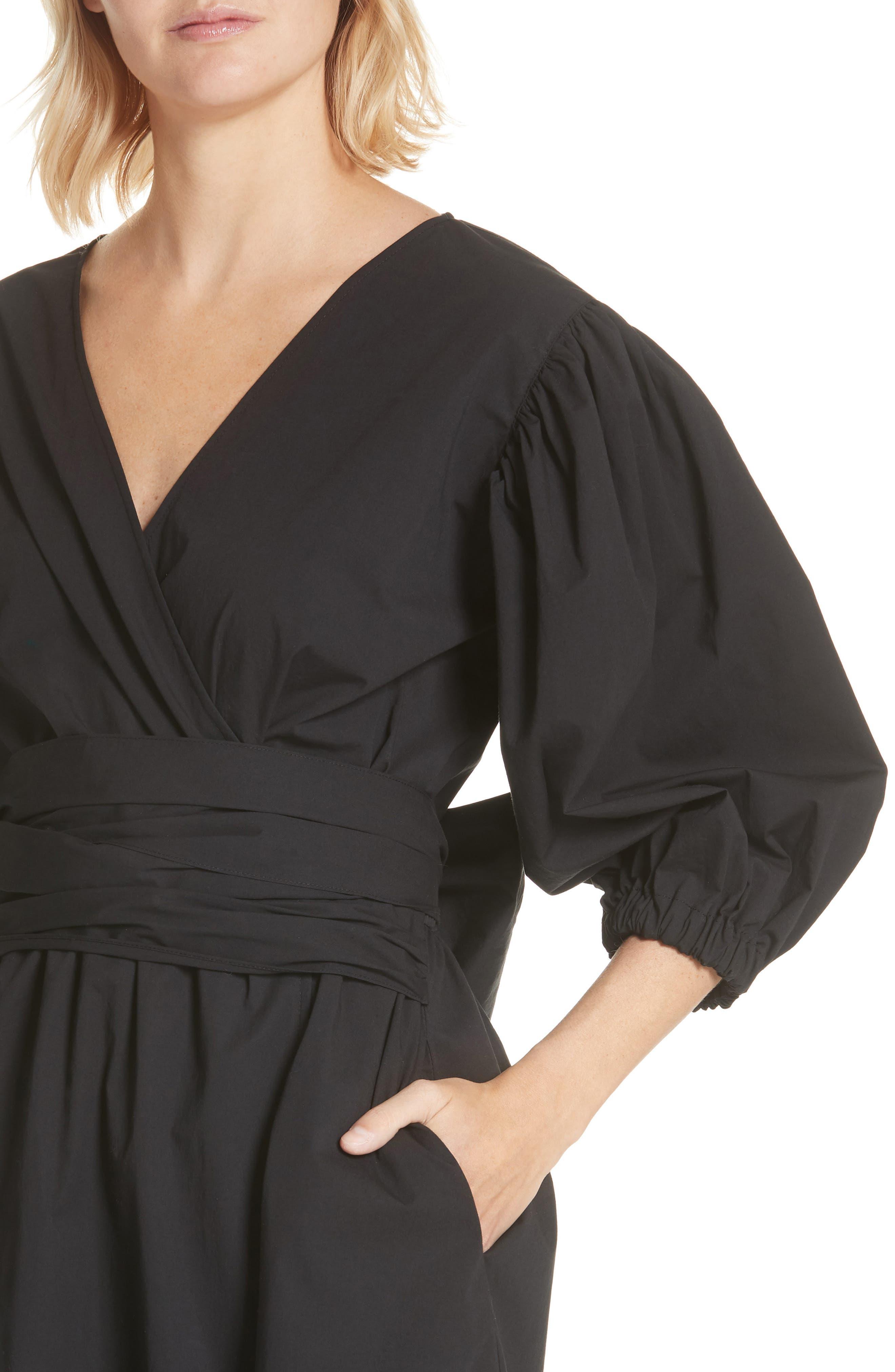 Miriam Wrap Dress,                             Alternate thumbnail 4, color,                             Cotton Black
