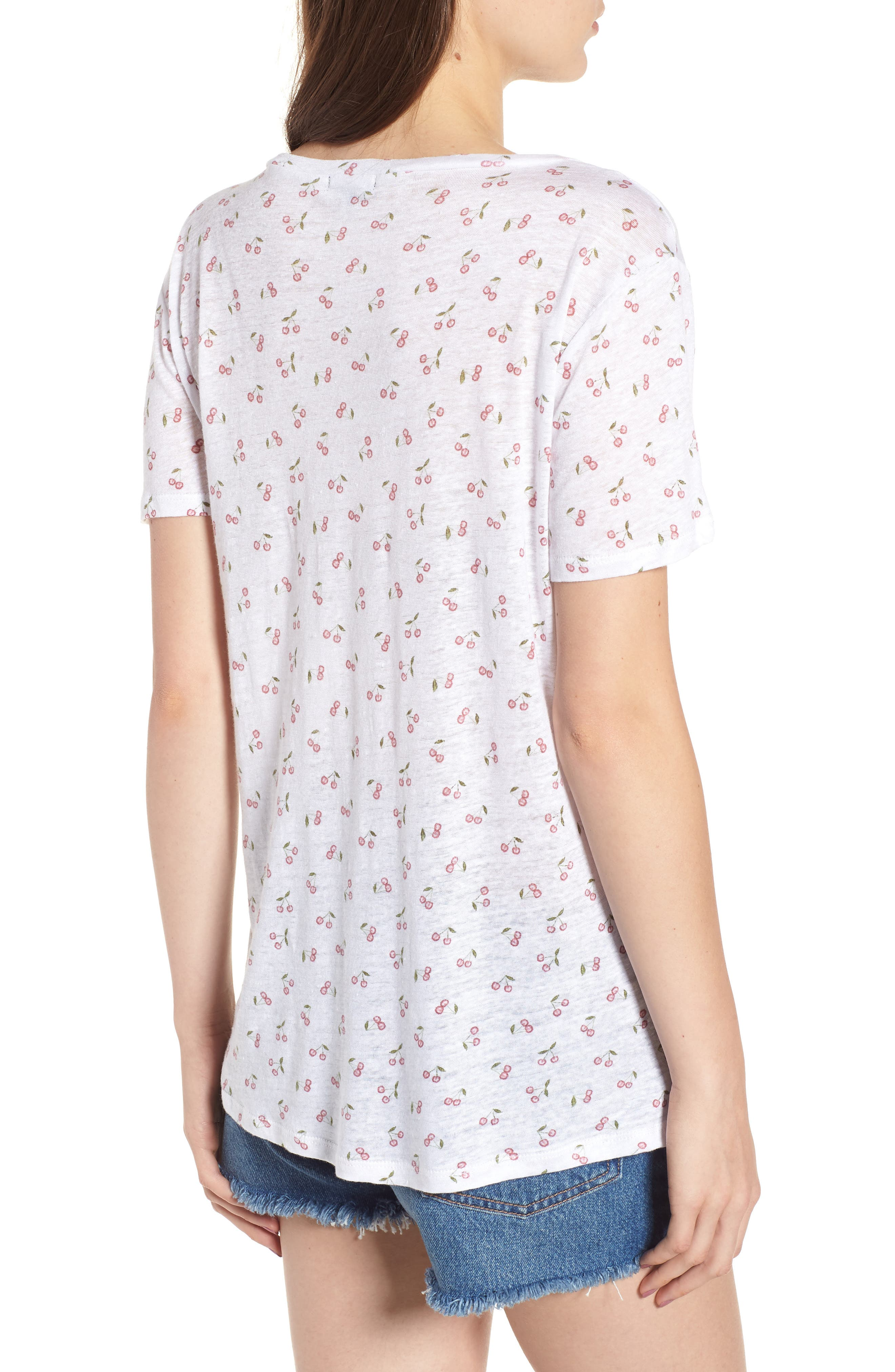 Cara V-Neck Slub Knit Tee,                             Alternate thumbnail 2, color,                             White Cherries