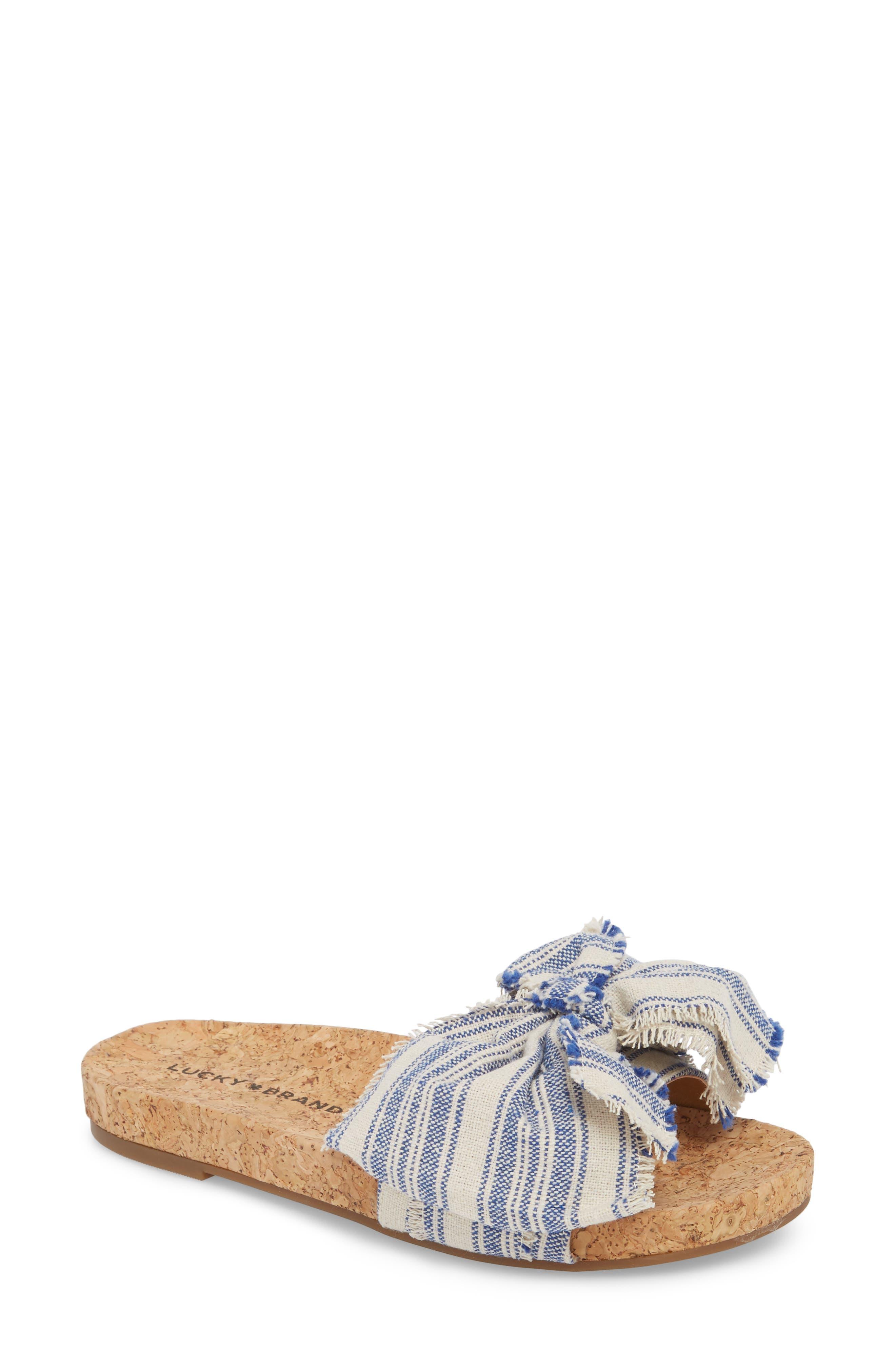 Floella Bow Slide Sandal,                         Main,                         color, Lapis Leather