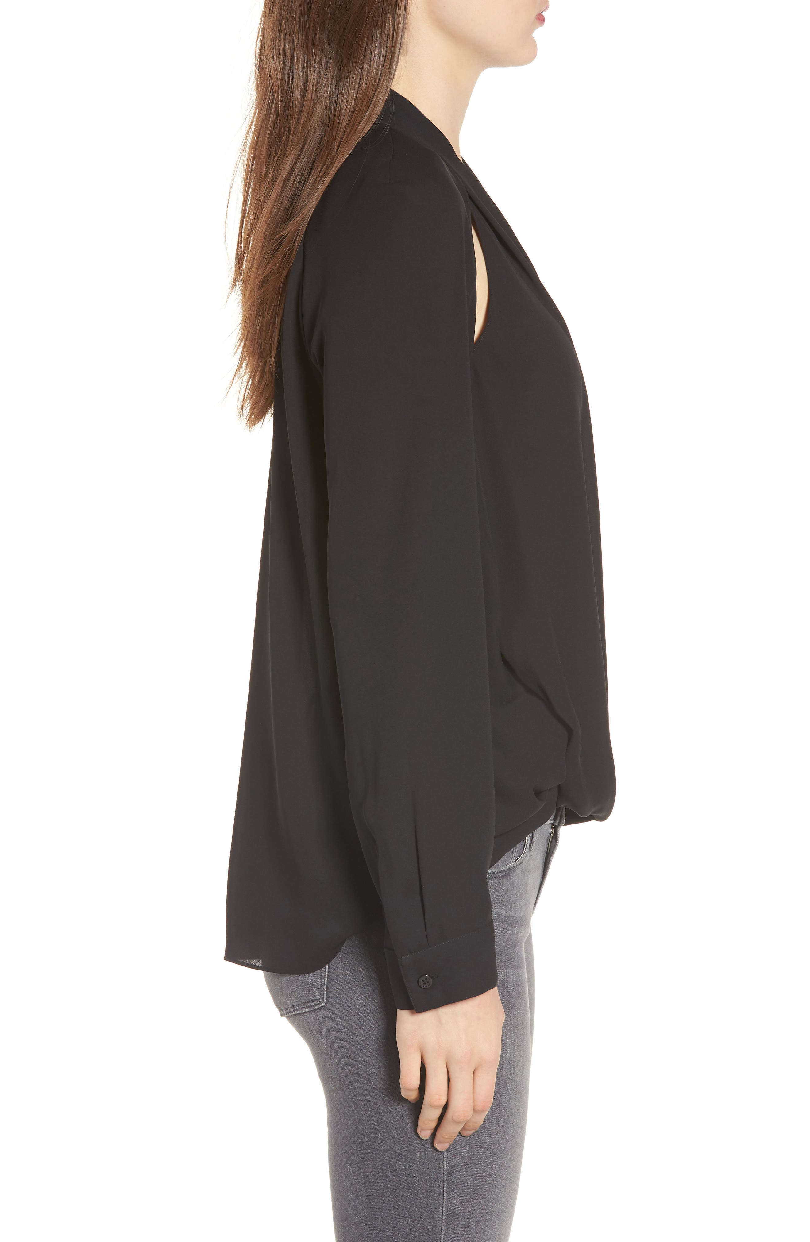 Cutout Surplice Top,                             Alternate thumbnail 3, color,                             Black
