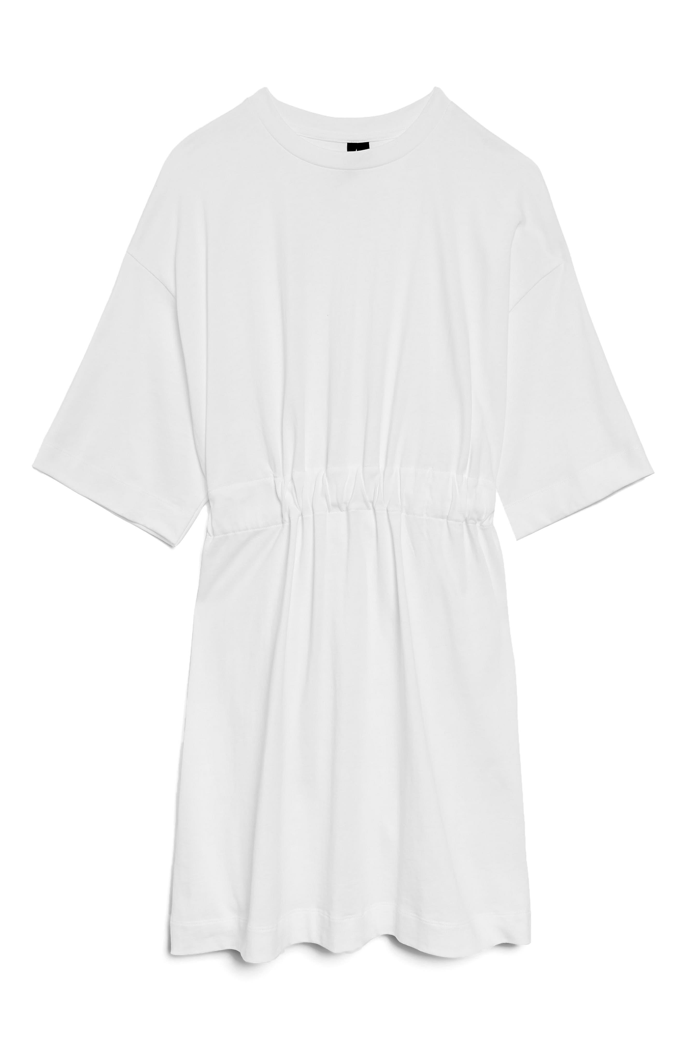 Drawcord T-Shirt Dress,                         Main,                         color, White
