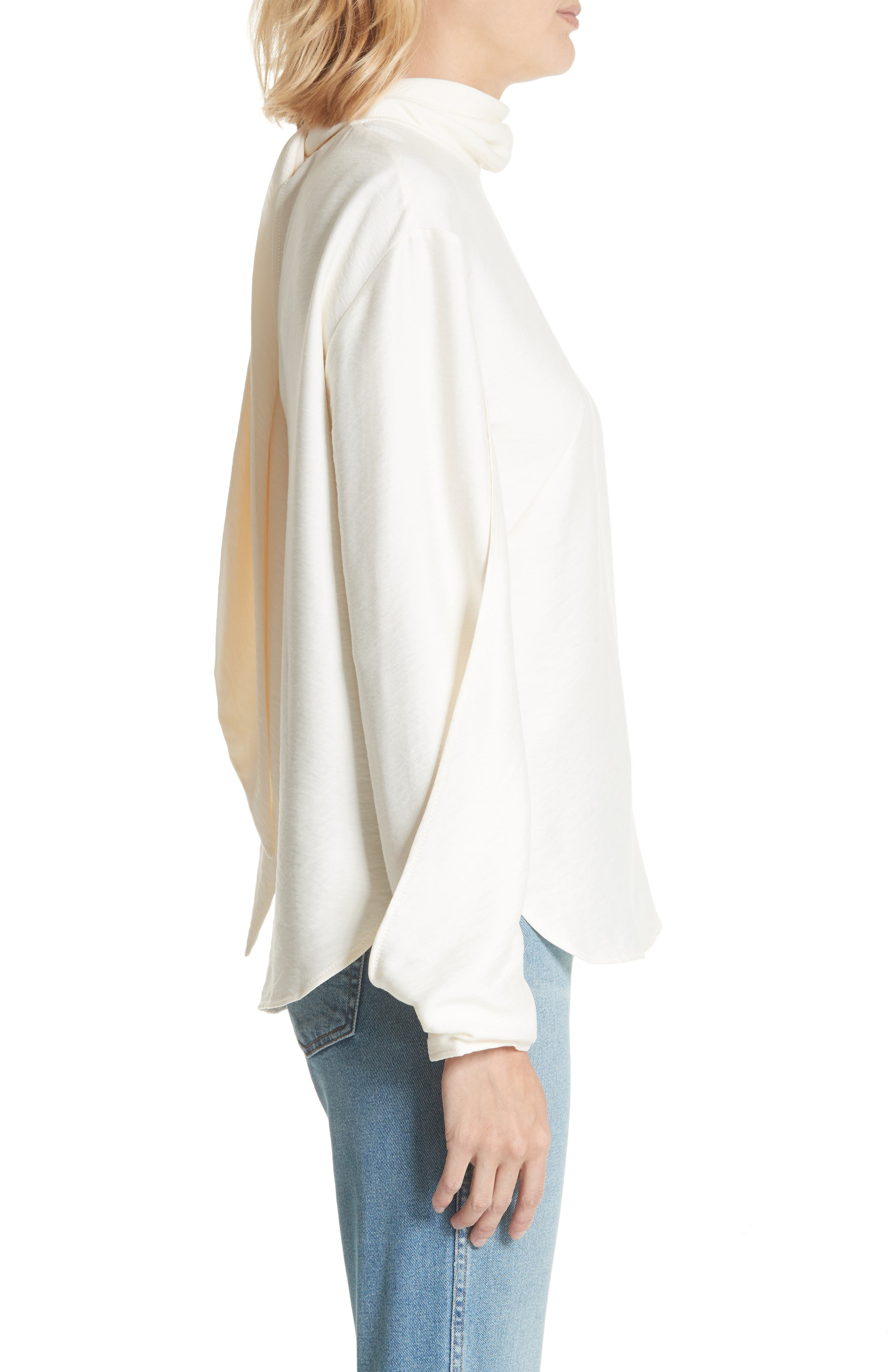 Jessie High Neck Blouse,                             Alternate thumbnail 3, color,                             Rayon Ivory
