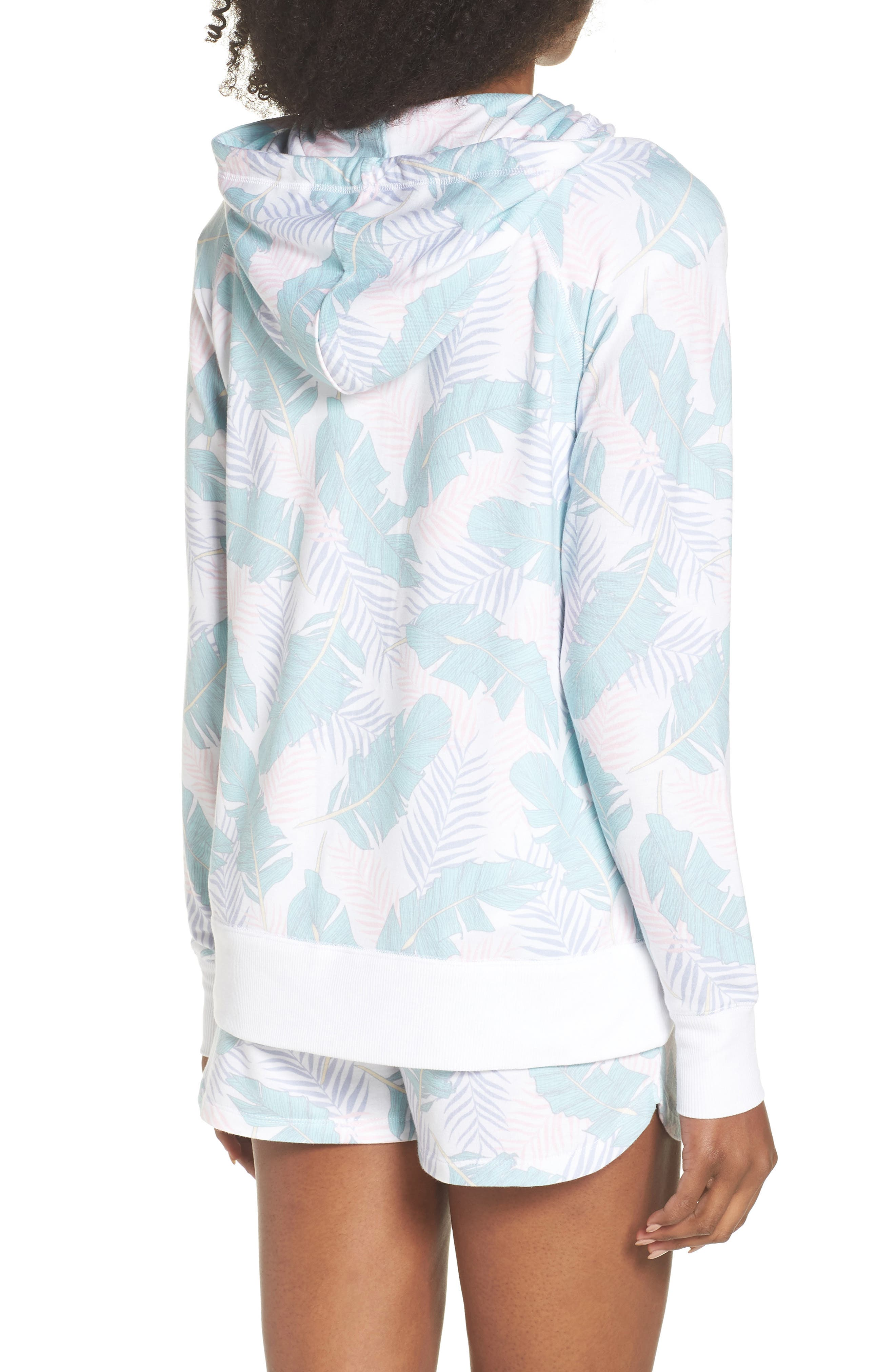 Leaf Print Zip Hoodie,                             Alternate thumbnail 2, color,                             White