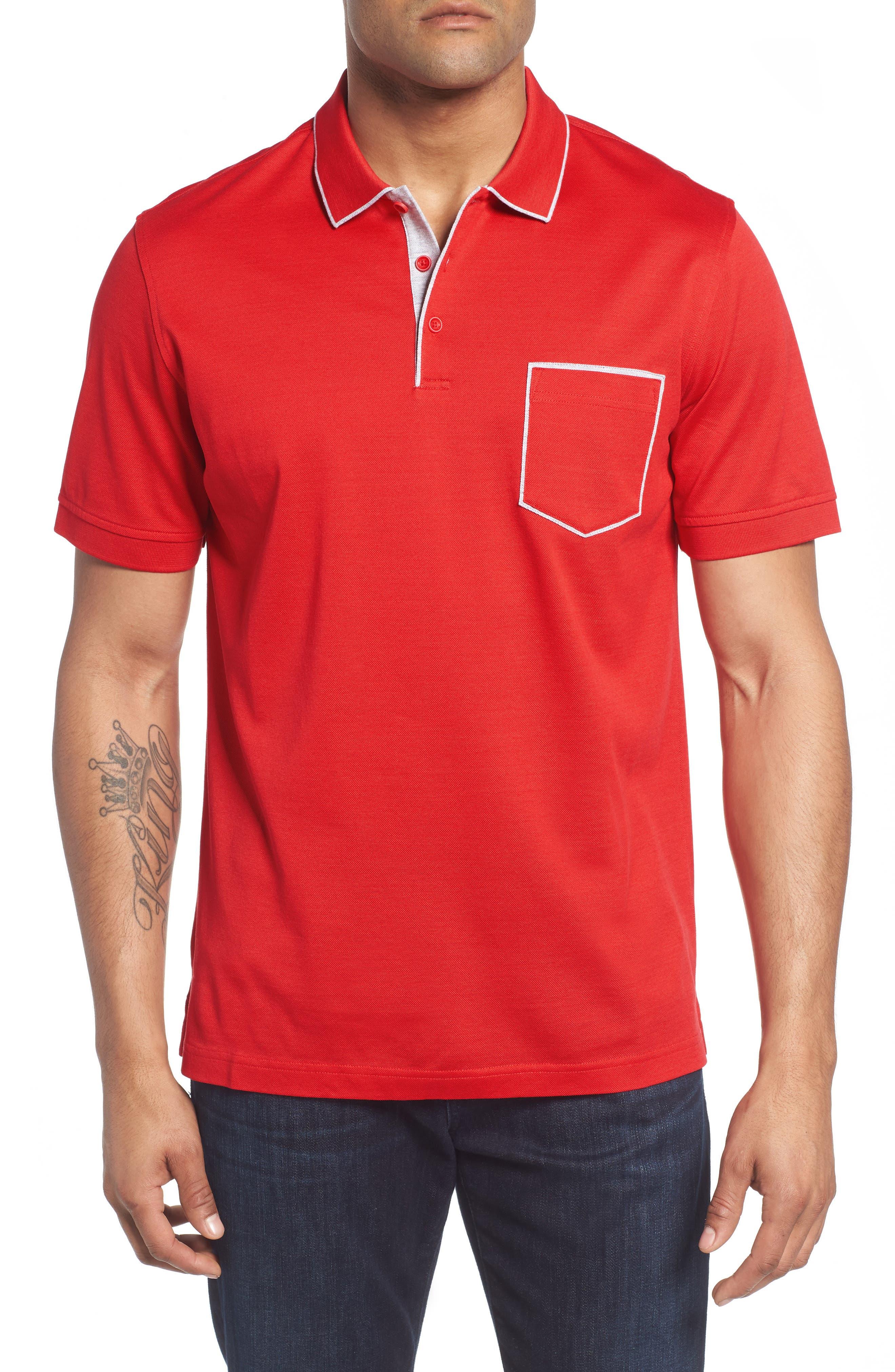 Piqué Knit Polo,                         Main,                         color, Red