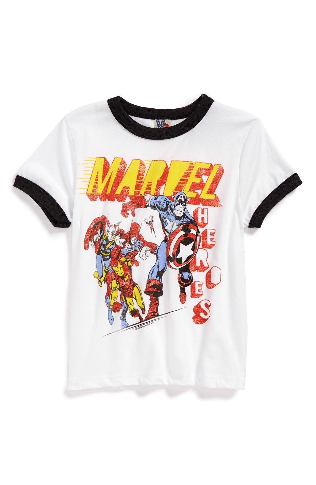 Alternate Image 1 Selected - Junk Food 'Marvel® Heroes' Graphic T-Shirt (Toddler Boys)