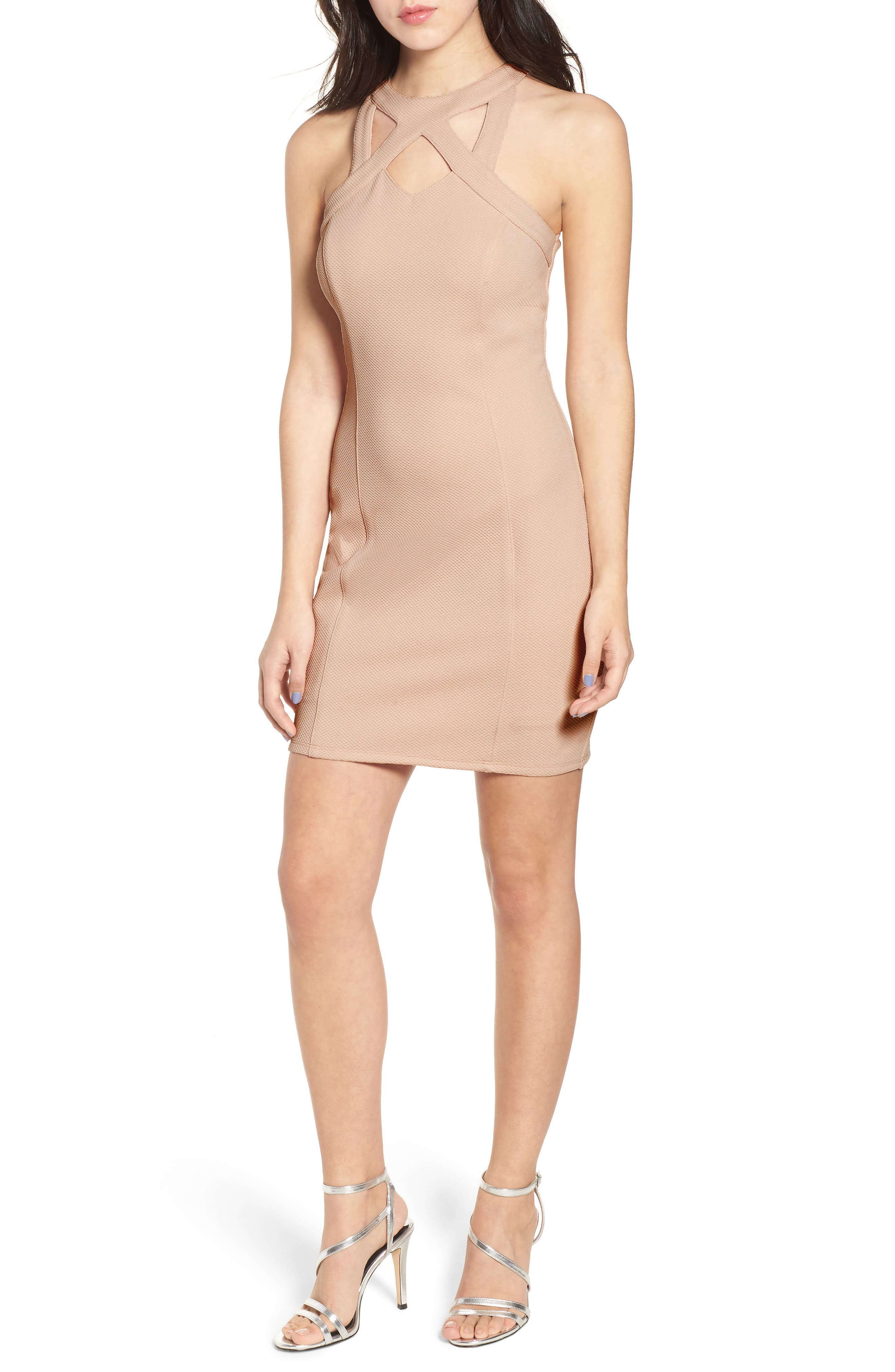 Piqué Body-Con Dress,                             Main thumbnail 1, color,                             Pale Pink