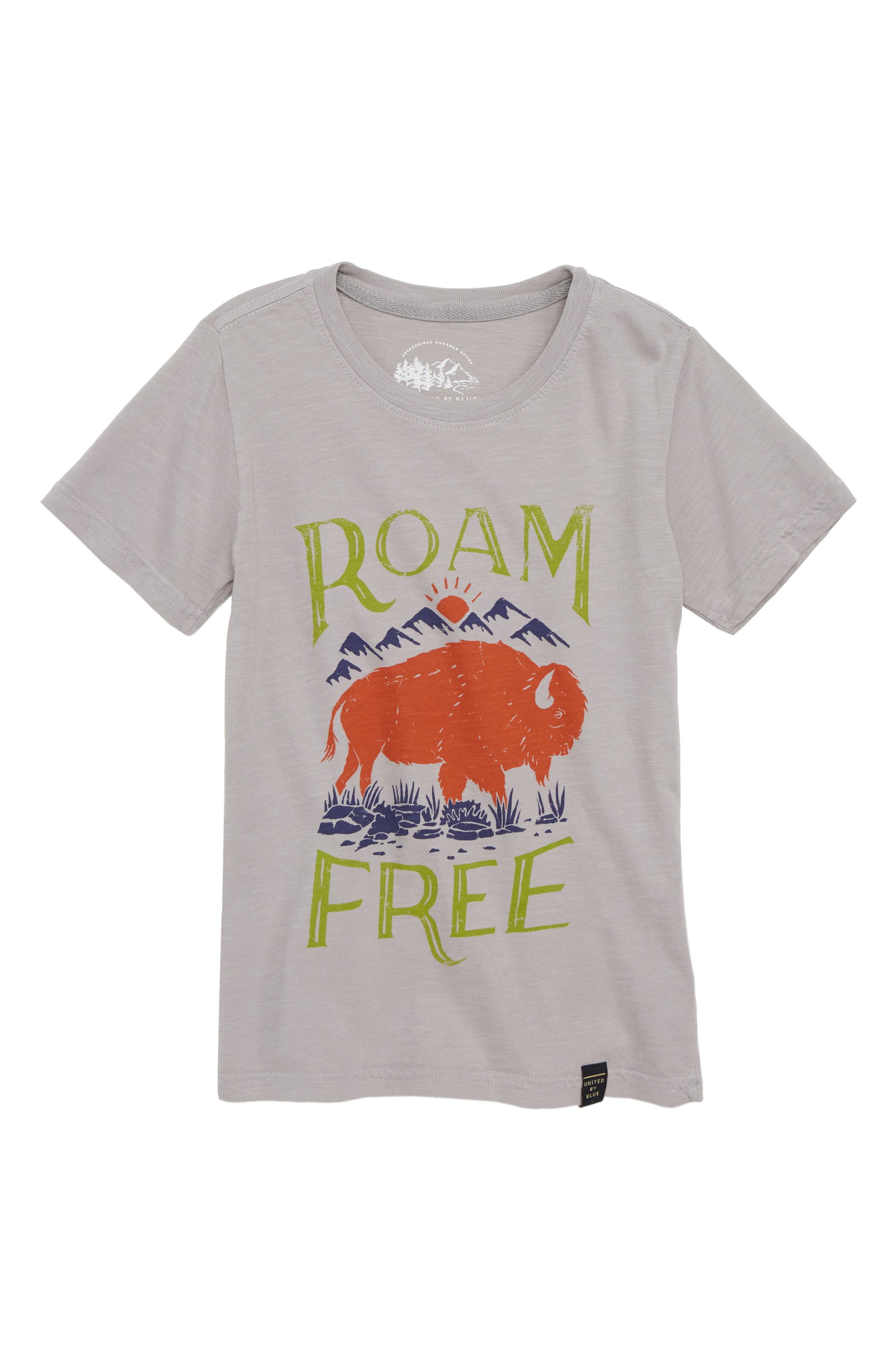 Roam Free Graphic T-Shirt,                             Main thumbnail 1, color,                             Grey