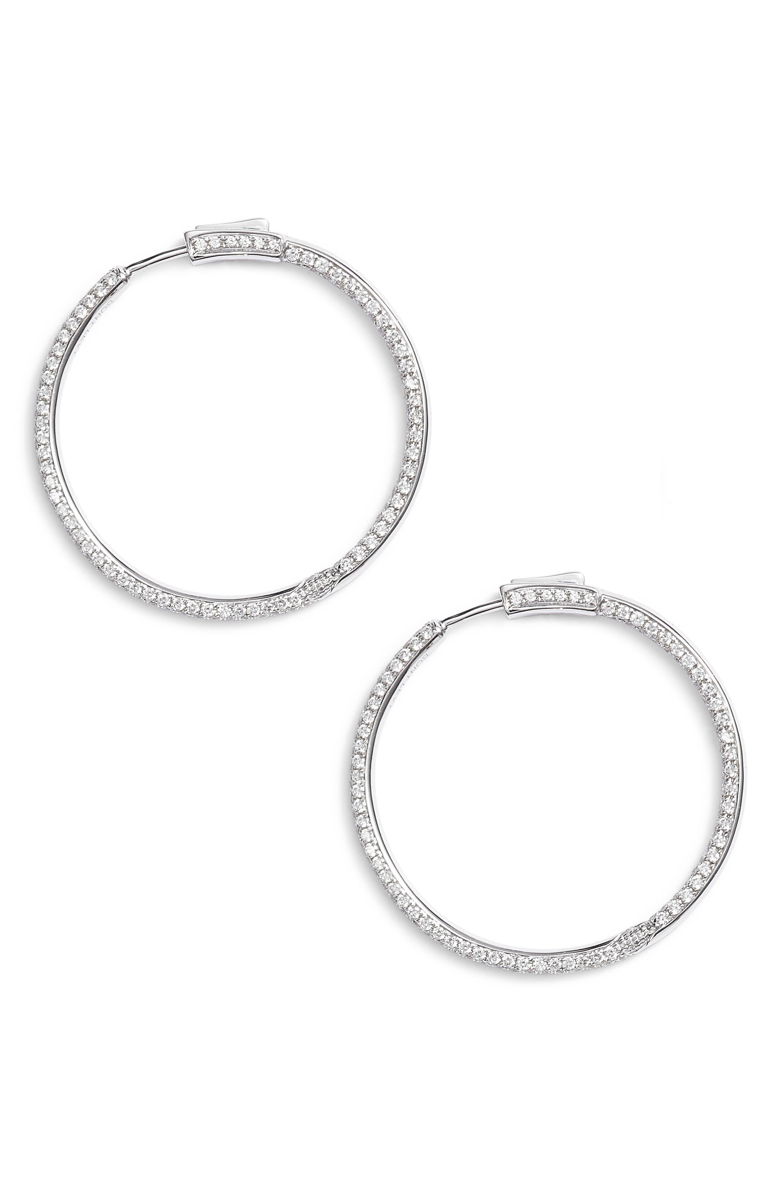 Inside Out Diamond Hoop Earrings,                             Main thumbnail 1, color,                             White Gold
