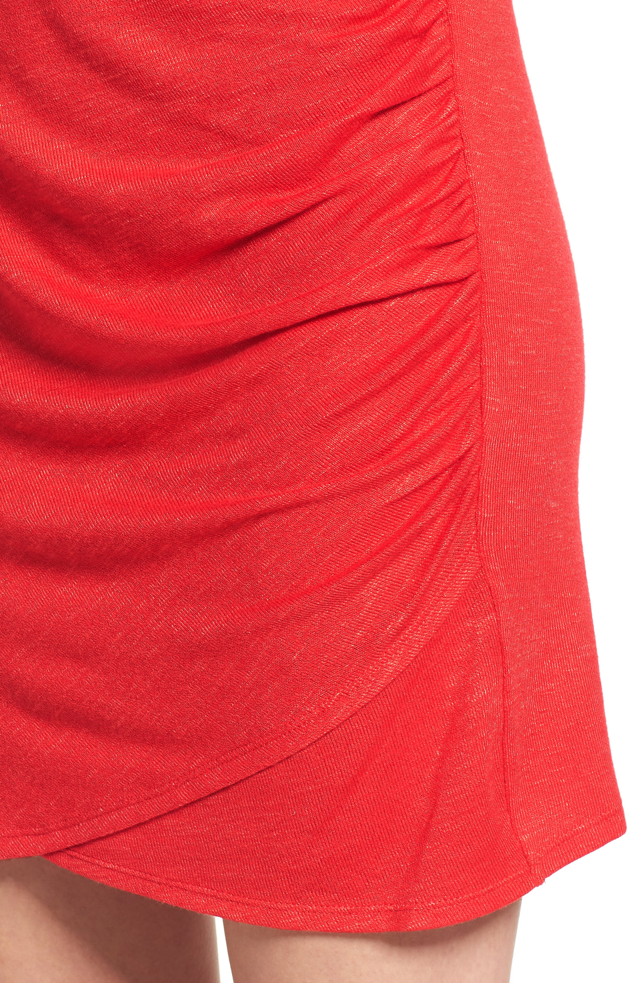 Ruched Minidress,                             Alternate thumbnail 4, color,                             Red