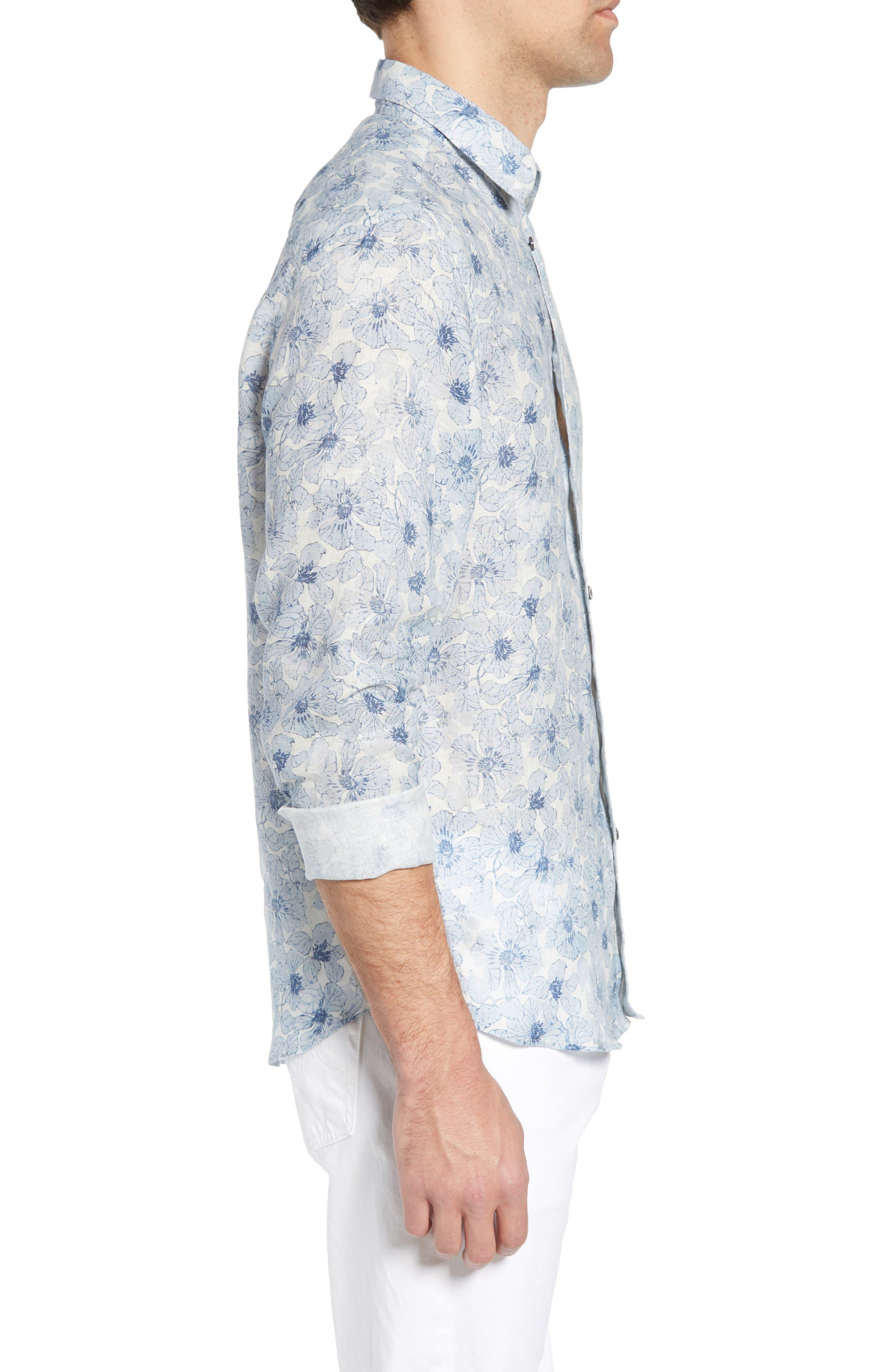 Tavton Regular Fit Floral Linen Sport Shirt,                             Alternate thumbnail 4, color,                             Sky