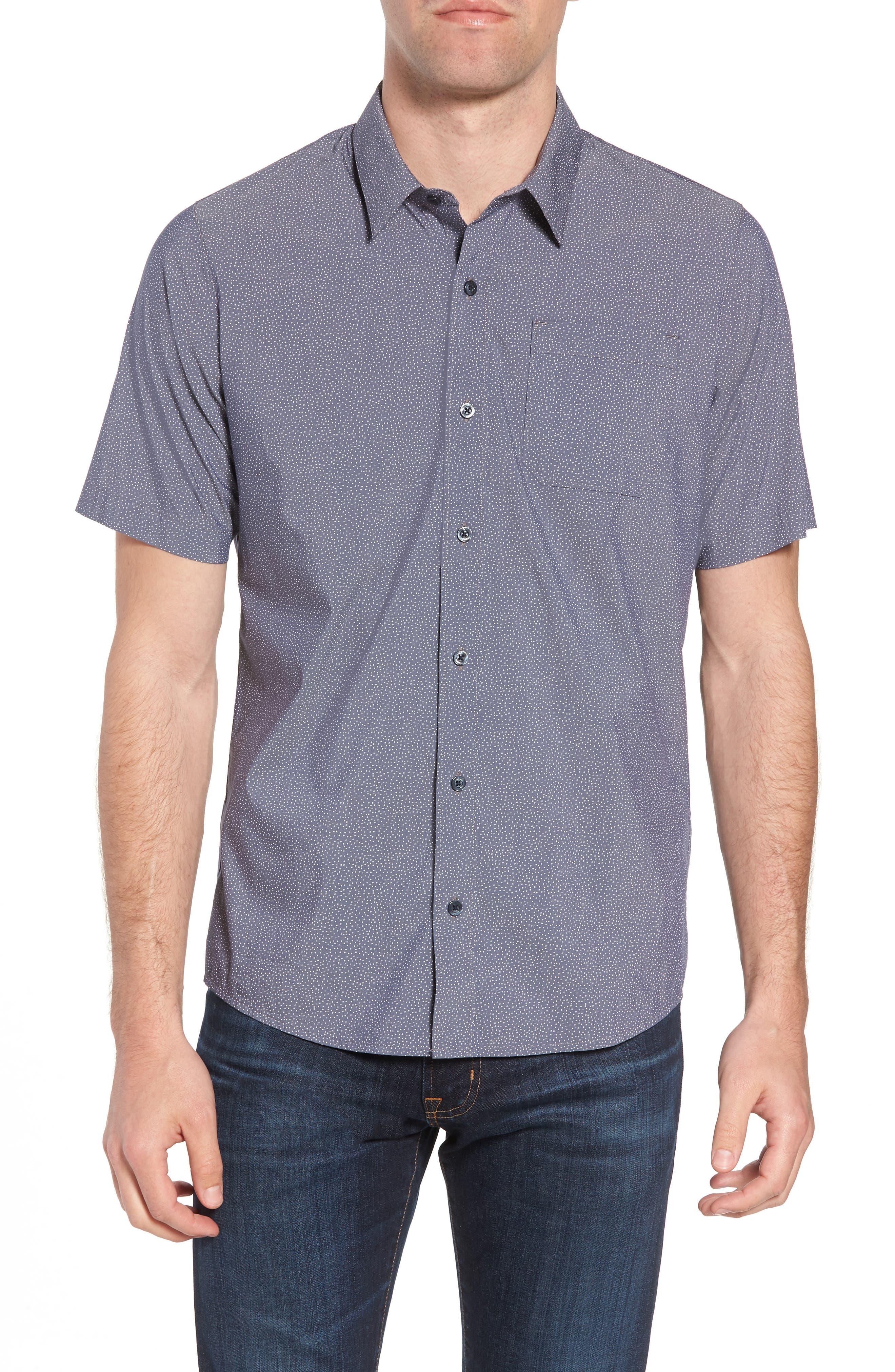 Particles Spot Print Sport Shirt,                             Main thumbnail 1, color,                             Blue Nights