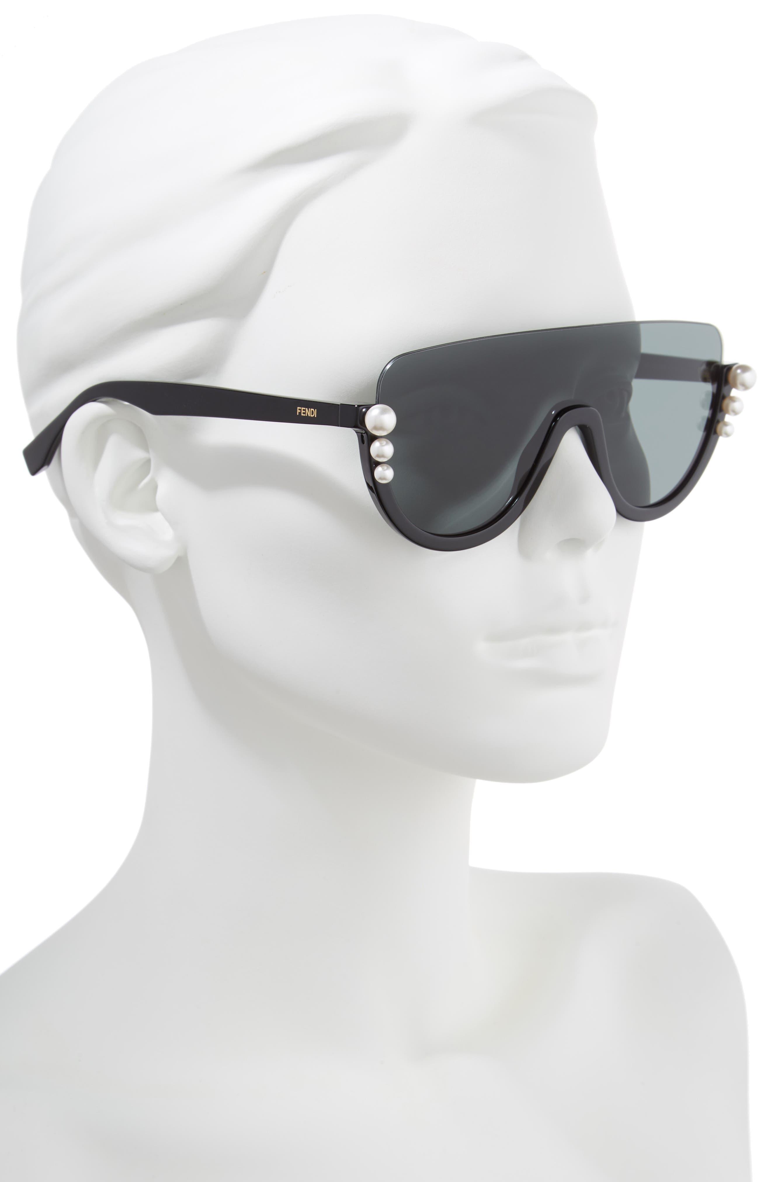 57mm Polarized Rimless Shield Sunglasses,                             Alternate thumbnail 2, color,                             Black