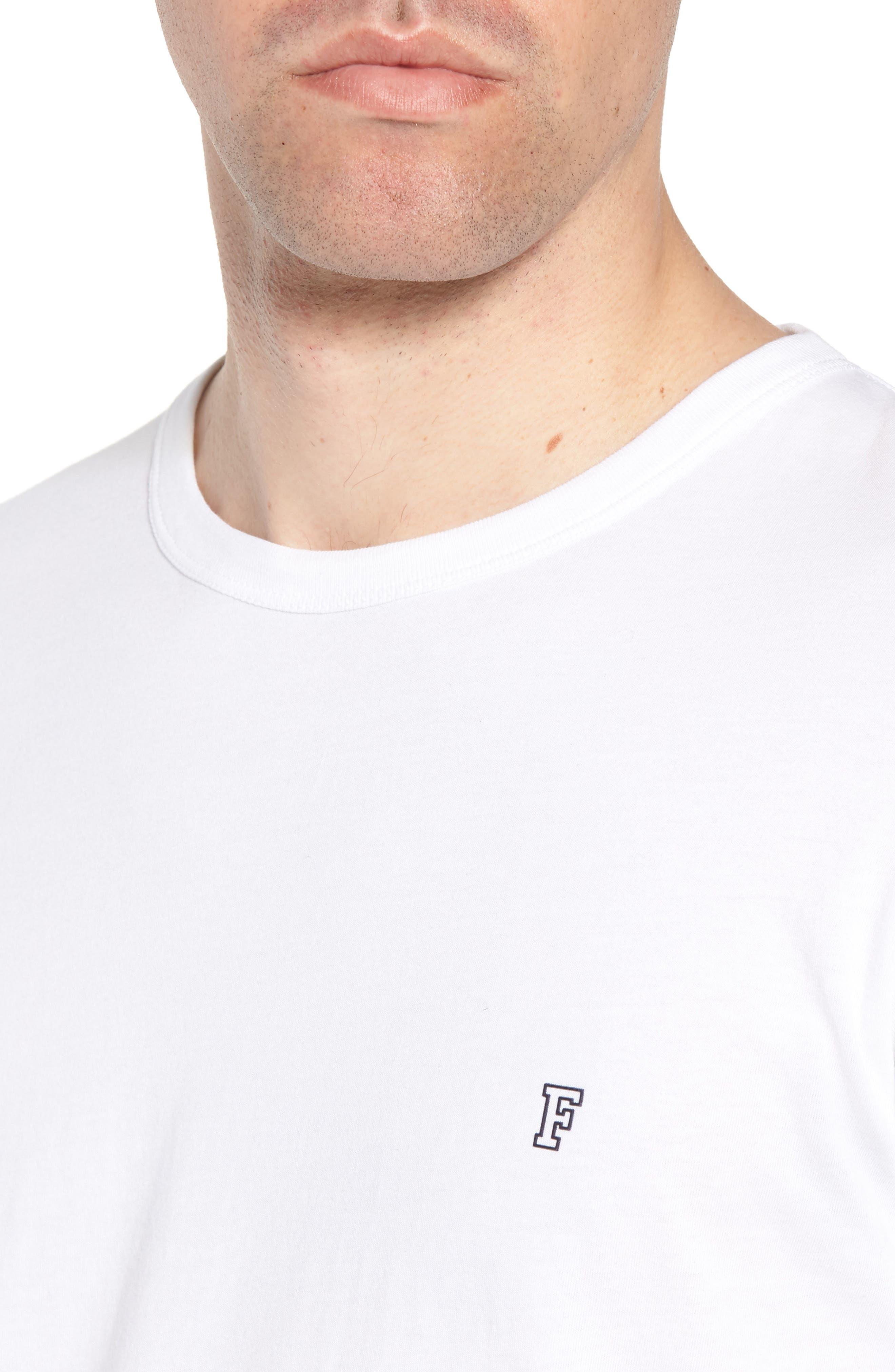 Summer Contrast Cuff T-Shirt,                             Alternate thumbnail 4, color,                             White Marine Blue