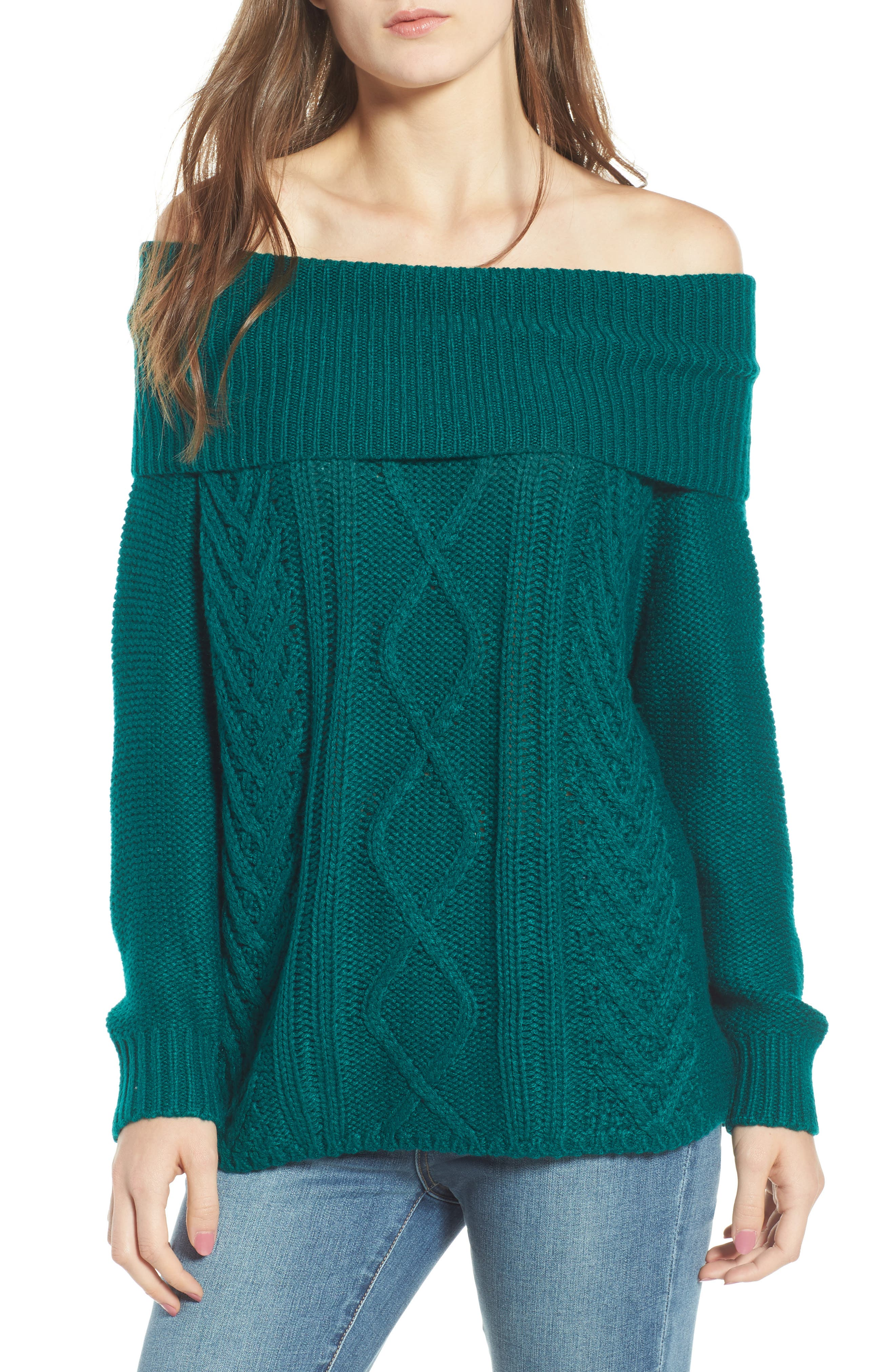 Off Shore Cable Knit Sweater,                         Main,                         color, Deep Lagoon