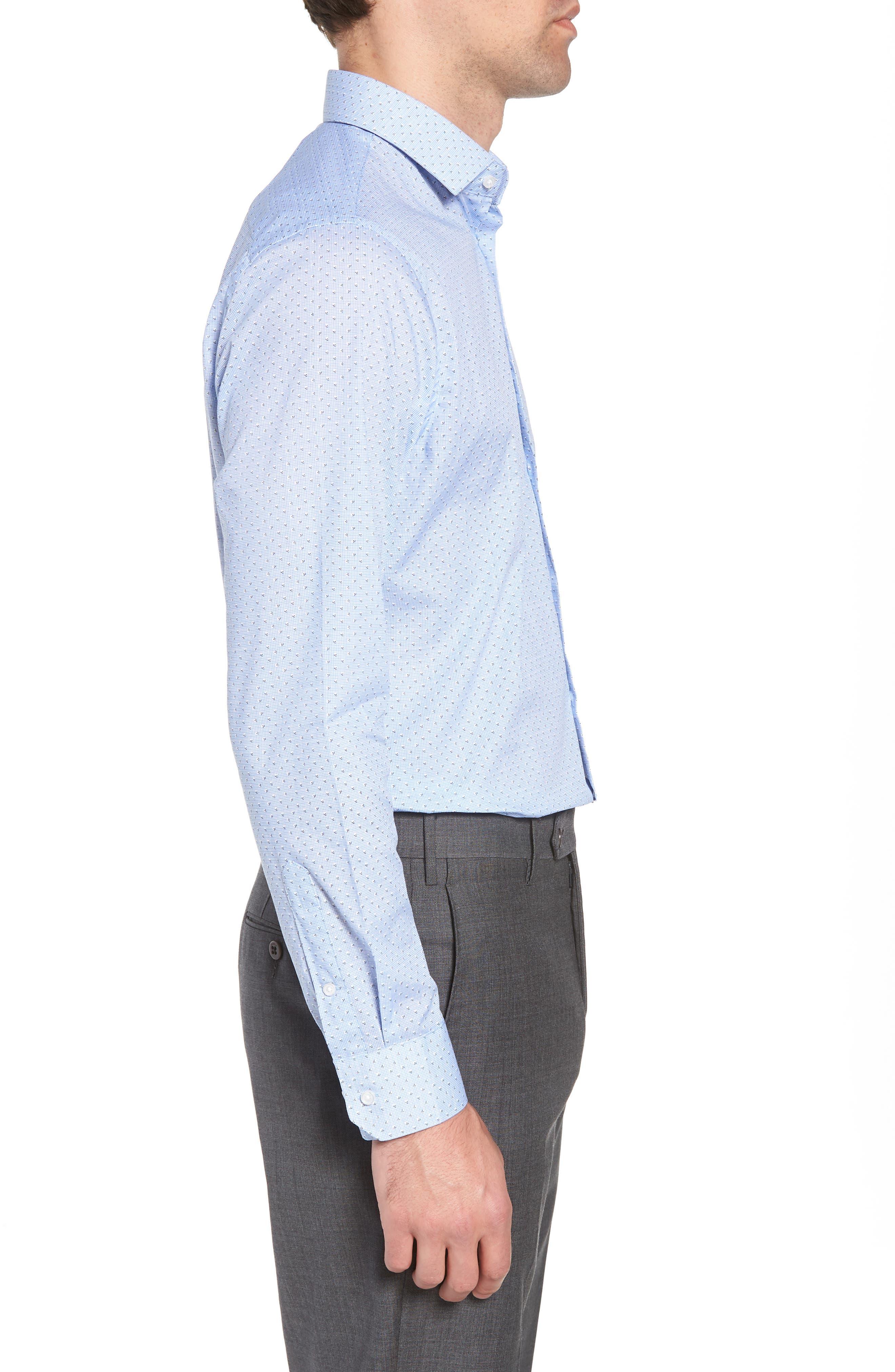 Trim Fit Print Dress Shirt,                             Alternate thumbnail 4, color,                             Blue Robbia