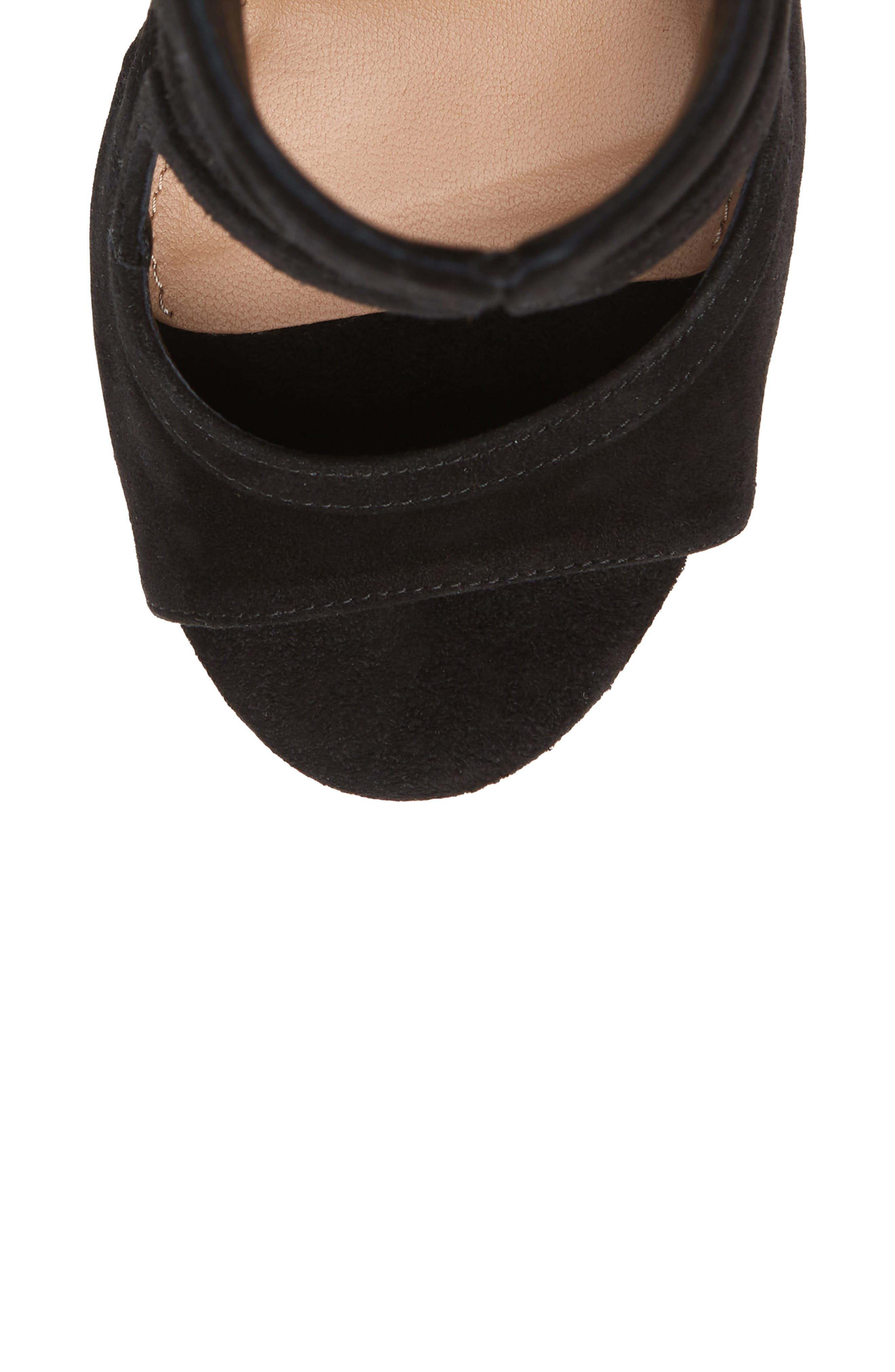 Antonia Cutout Shield Sandal,                             Alternate thumbnail 5, color,                             Black