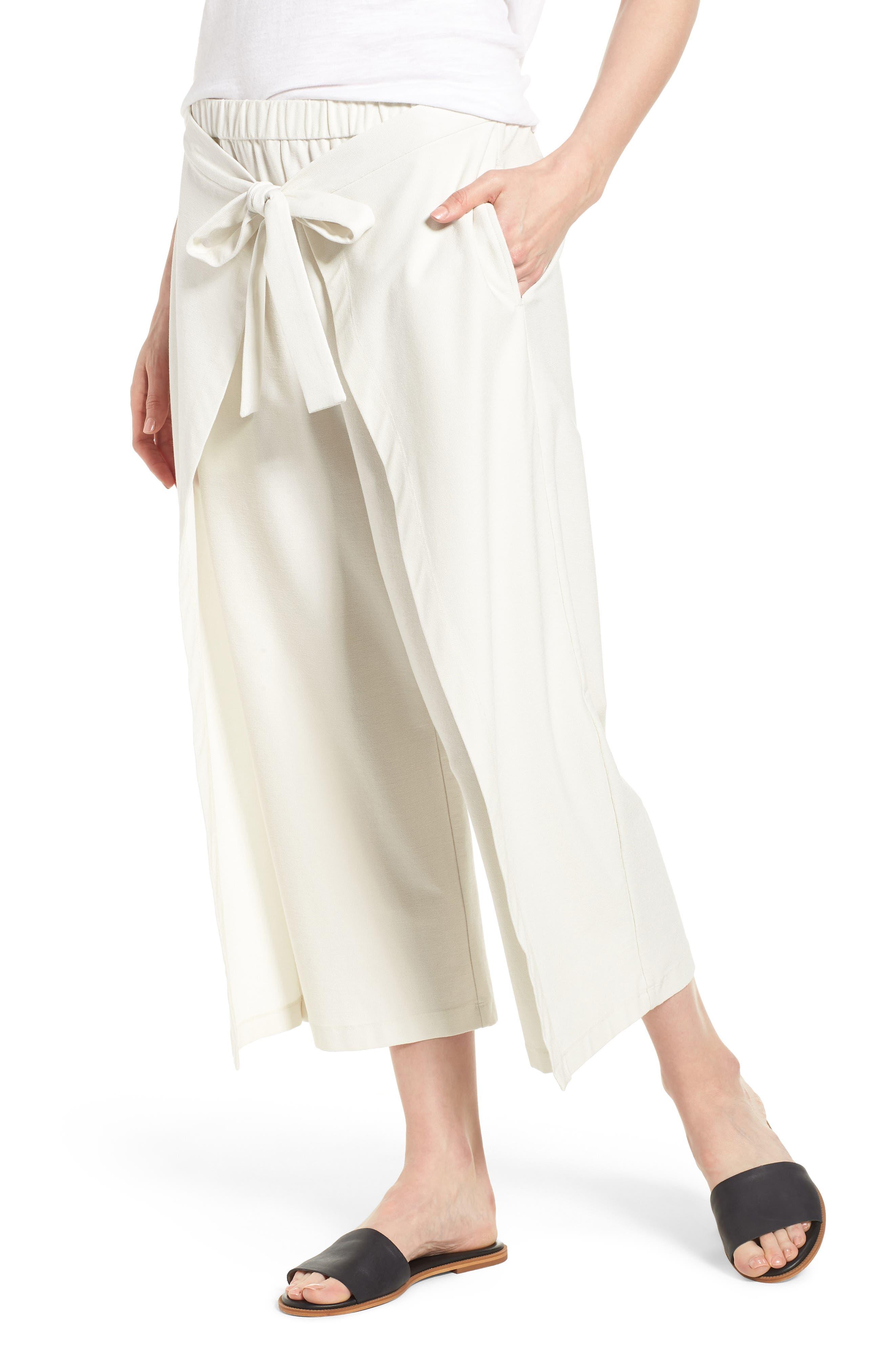 Washable Stretch Crepe Tie-Front Crop Wide Leg Pants,                         Main,                         color, Bone