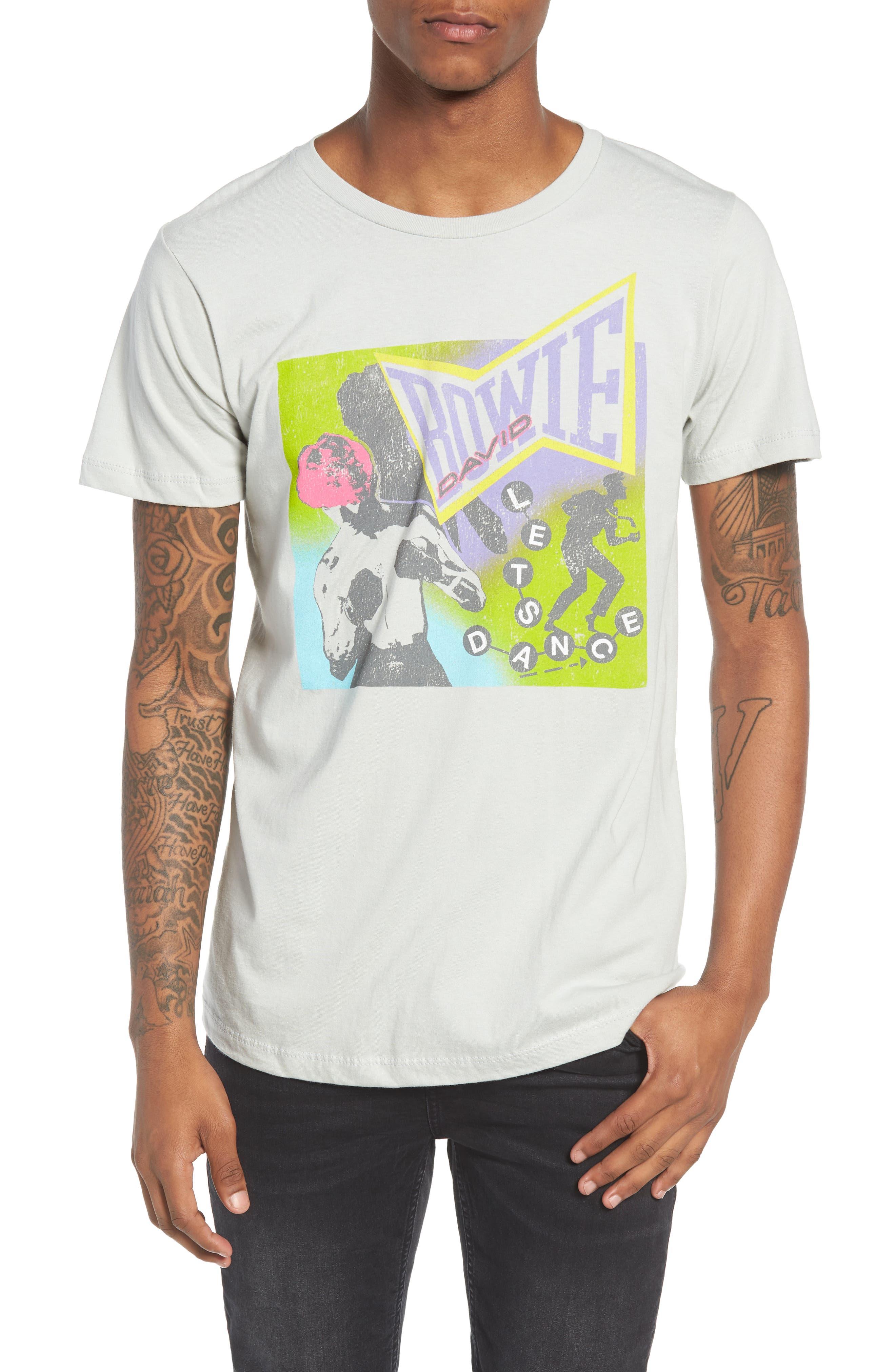 Neon David Bowie T-Shirt,                             Main thumbnail 1, color,                             Grey Bowie Dance