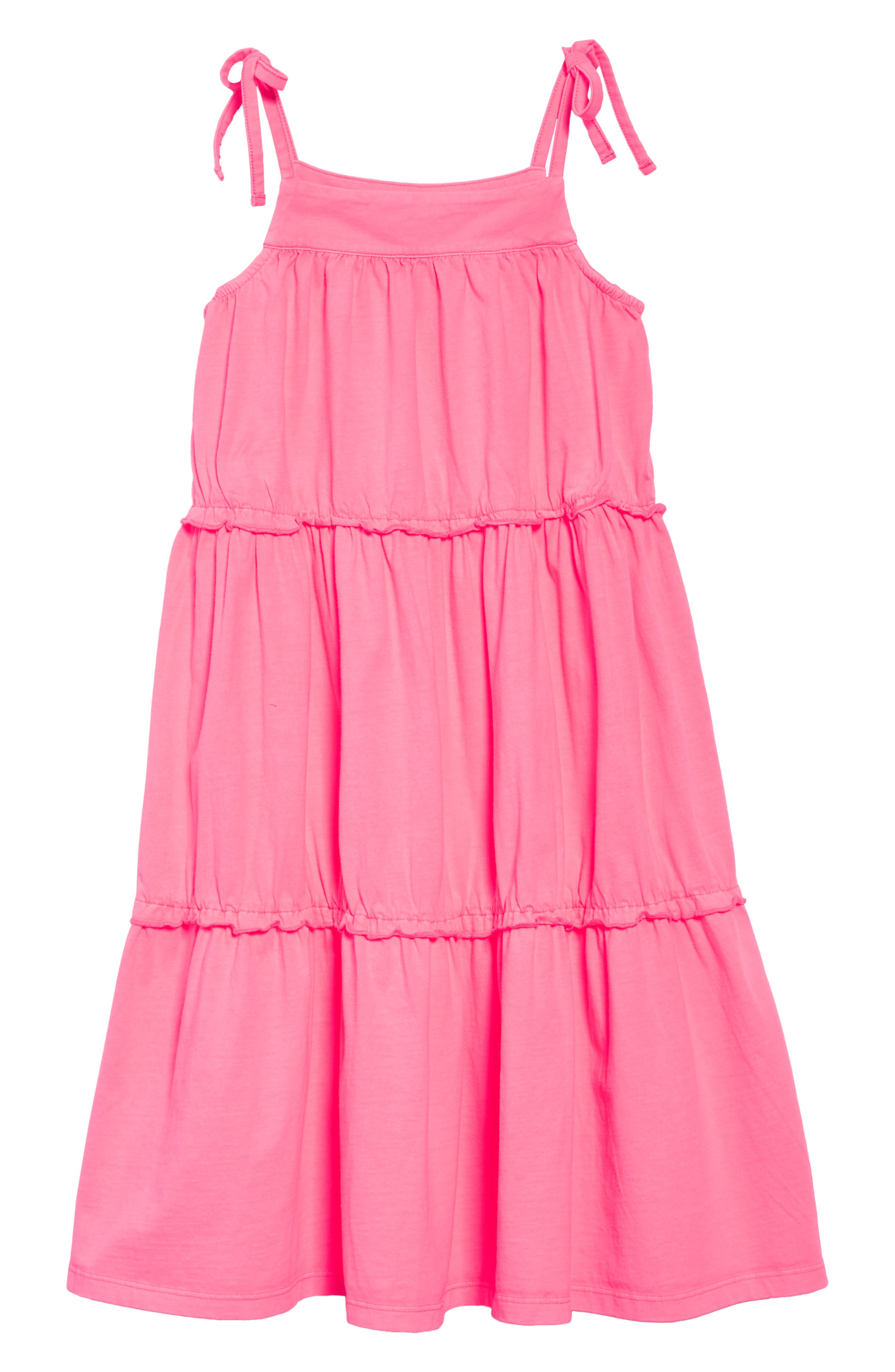 Tiered Sundress,                         Main,                         color, Parasol Pink