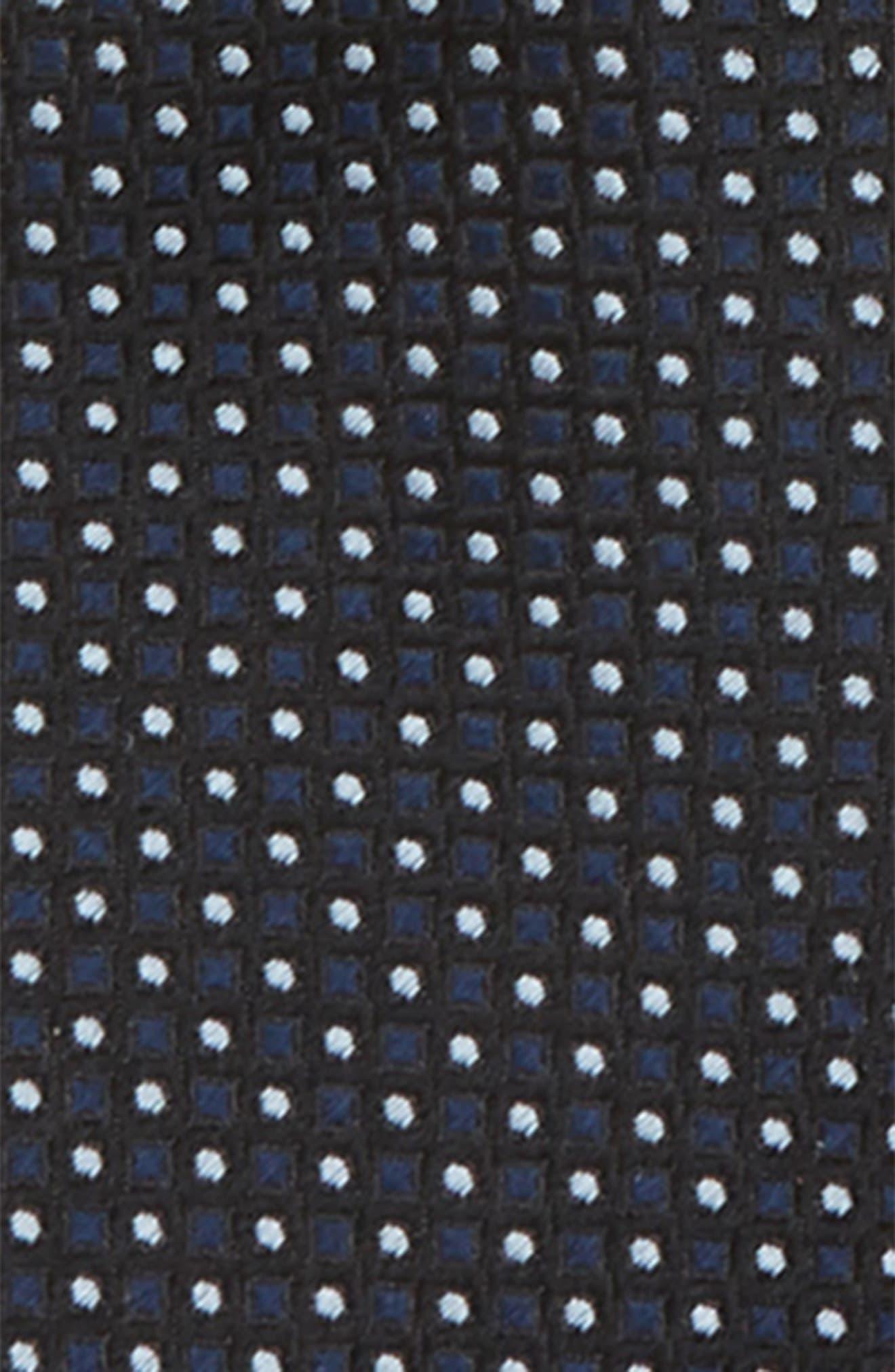 Alternate Image 2  - Nordstrom Dot Grid Silk Zip Tie (Big Boys)