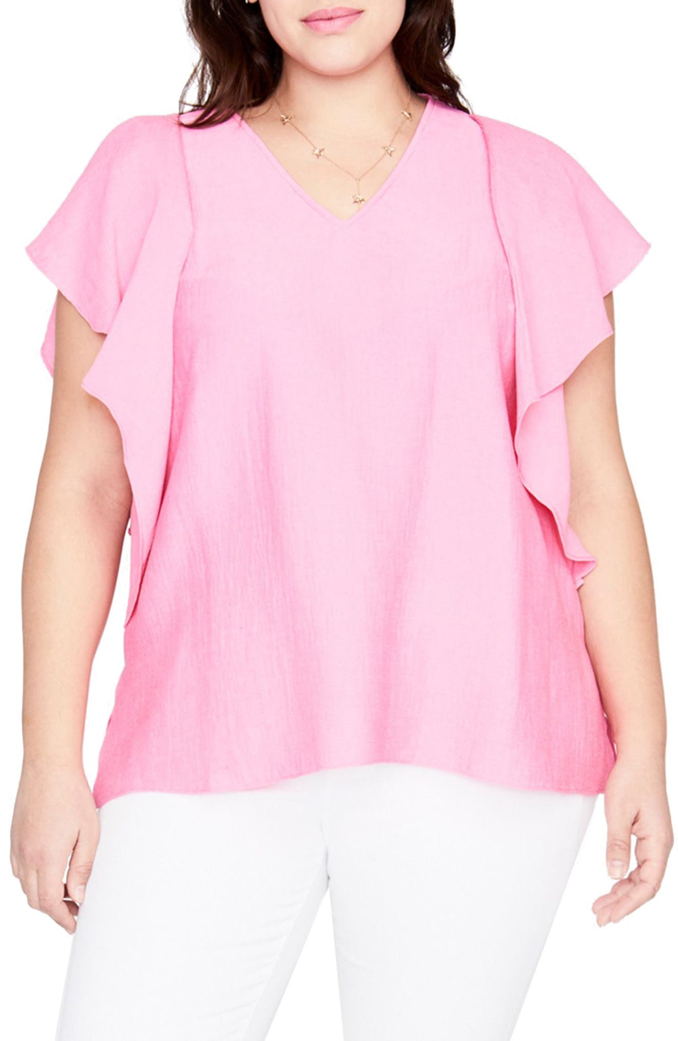 Flutter Sleeve Top,                             Main thumbnail 1, color,                             Cosmic Pink