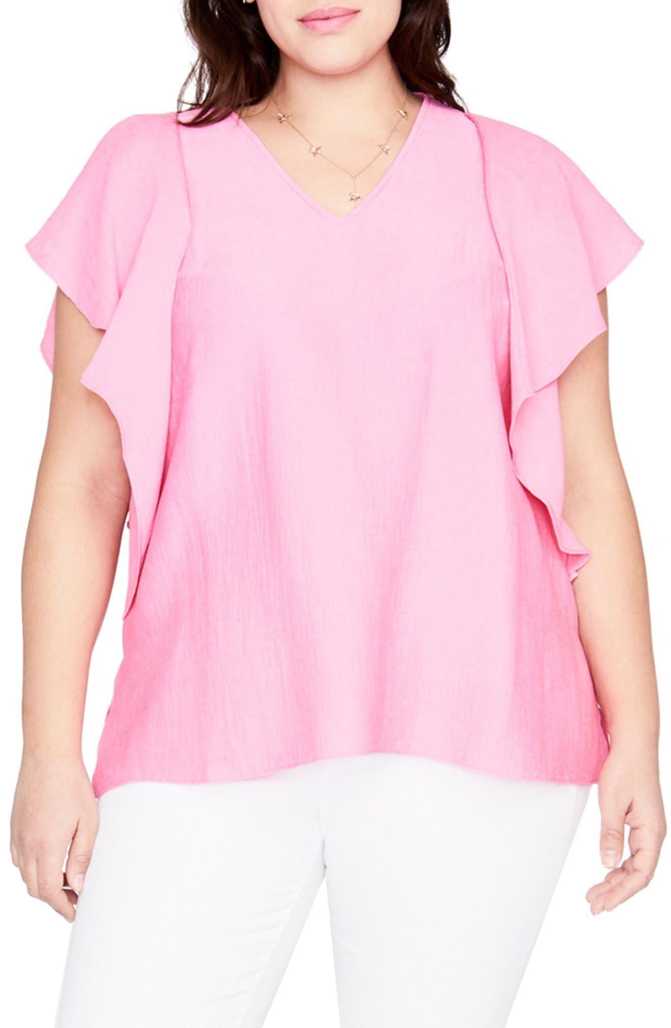 Flutter Sleeve Top,                         Main,                         color, Cosmic Pink
