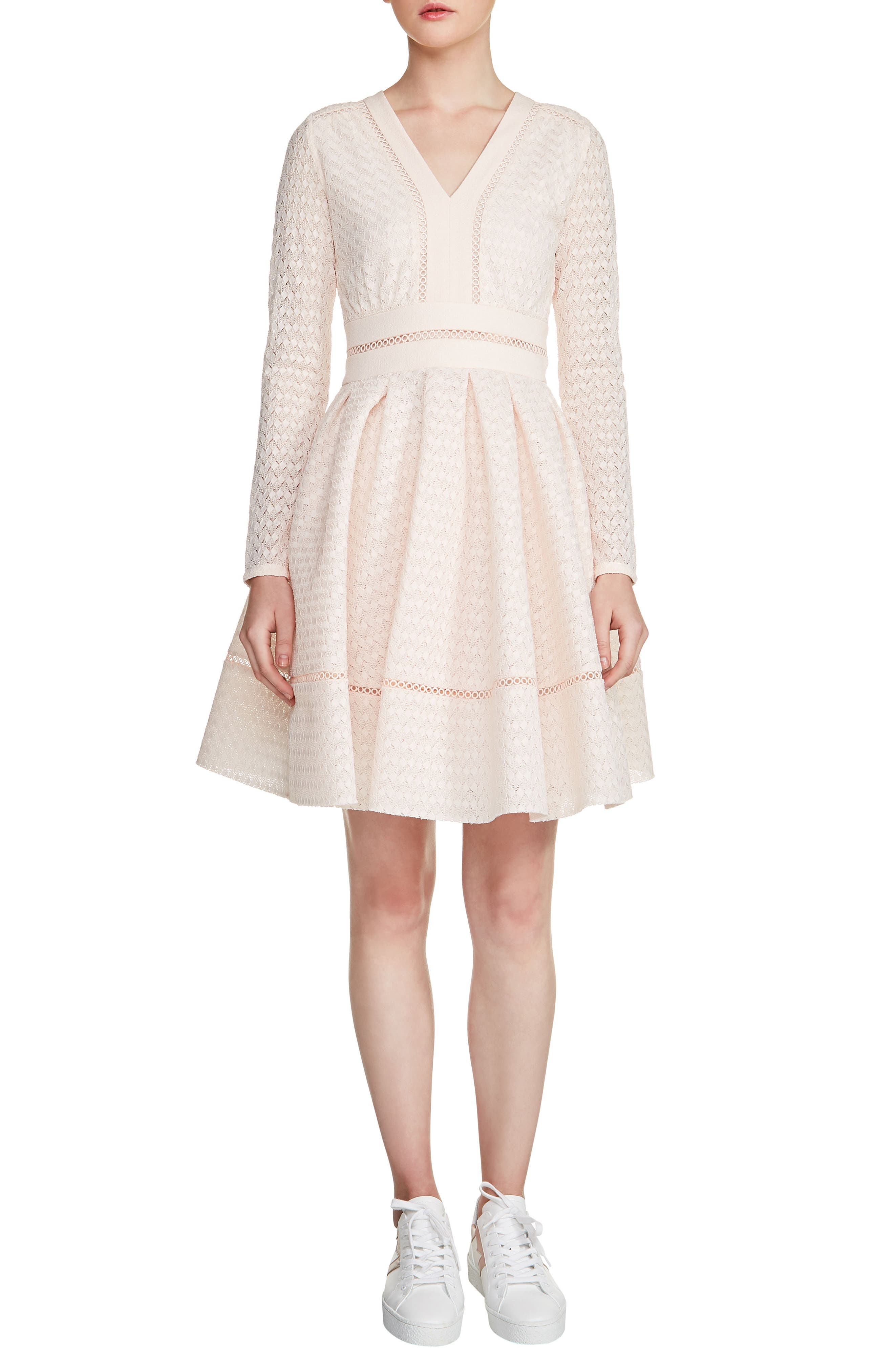 Pointelle Fit & Flare Dress,                             Main thumbnail 1, color,                             Nude