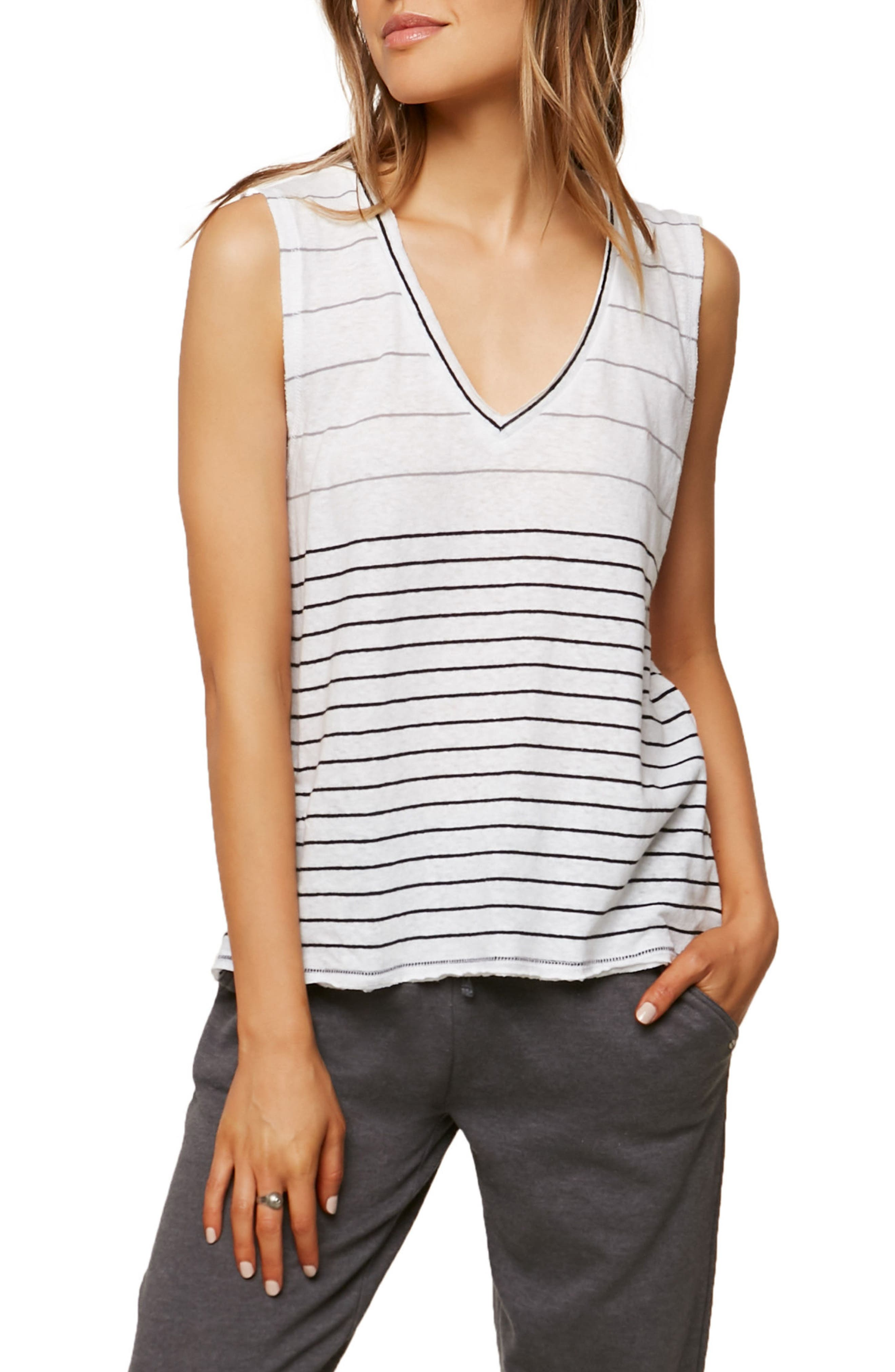 Ricki Stripe Cotton & Linen Tank,                             Main thumbnail 1, color,                             White