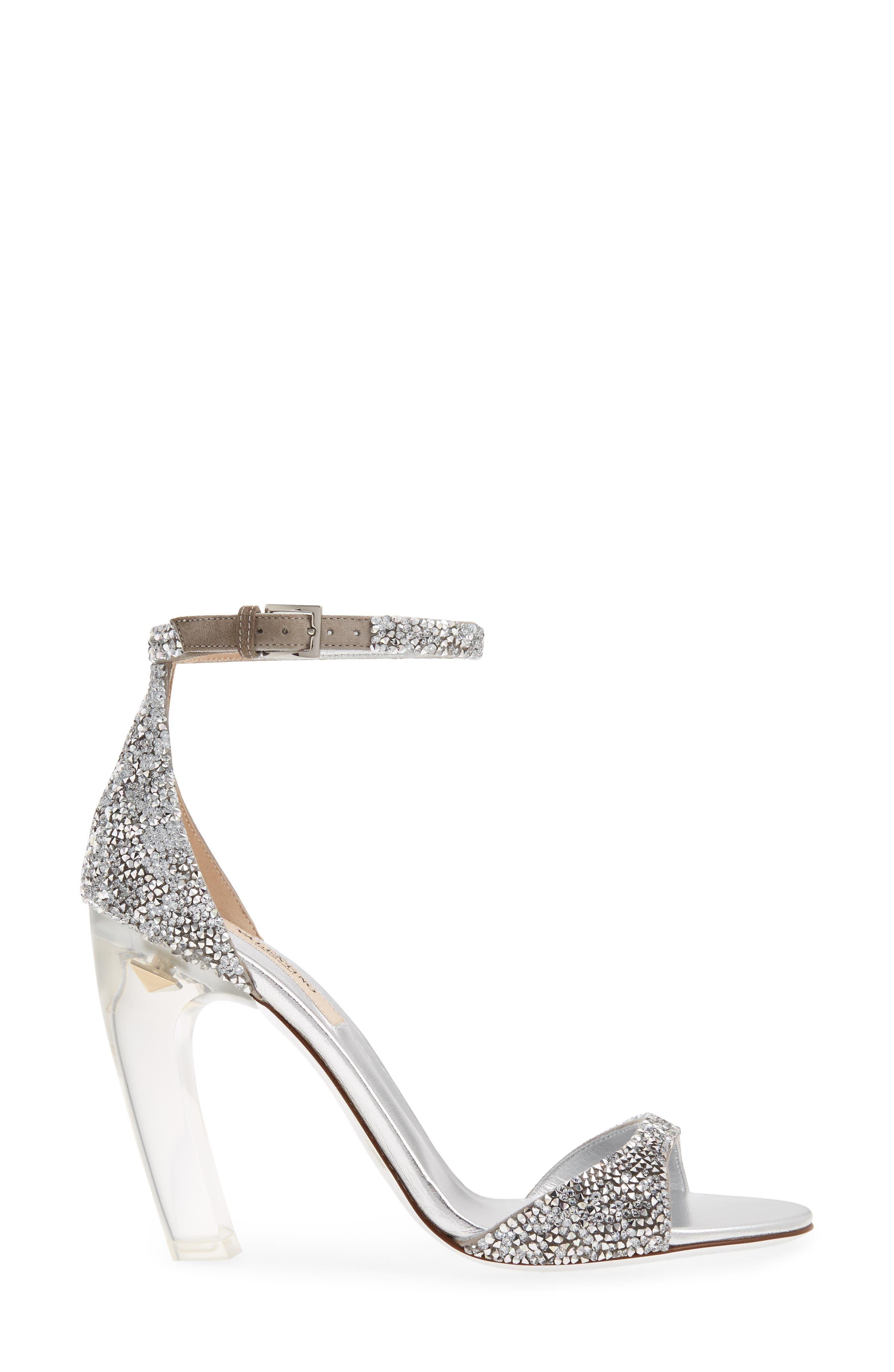 GARAVANI Crystal Embellished Clear Heel Sandal,                             Alternate thumbnail 3, color,                             Silver