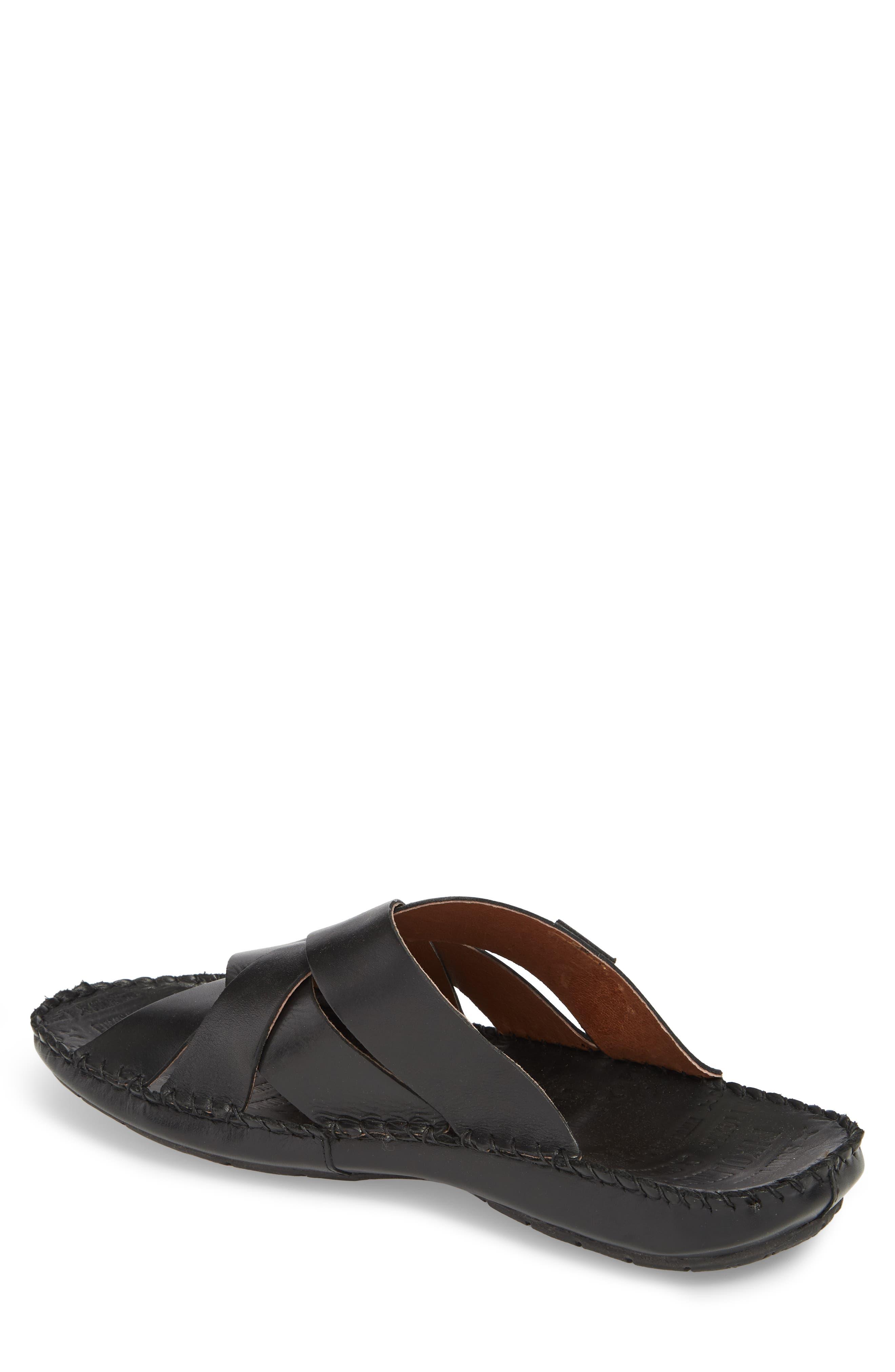 'Tarifa' Slide Sandal,                             Alternate thumbnail 2, color,                             Black Leather