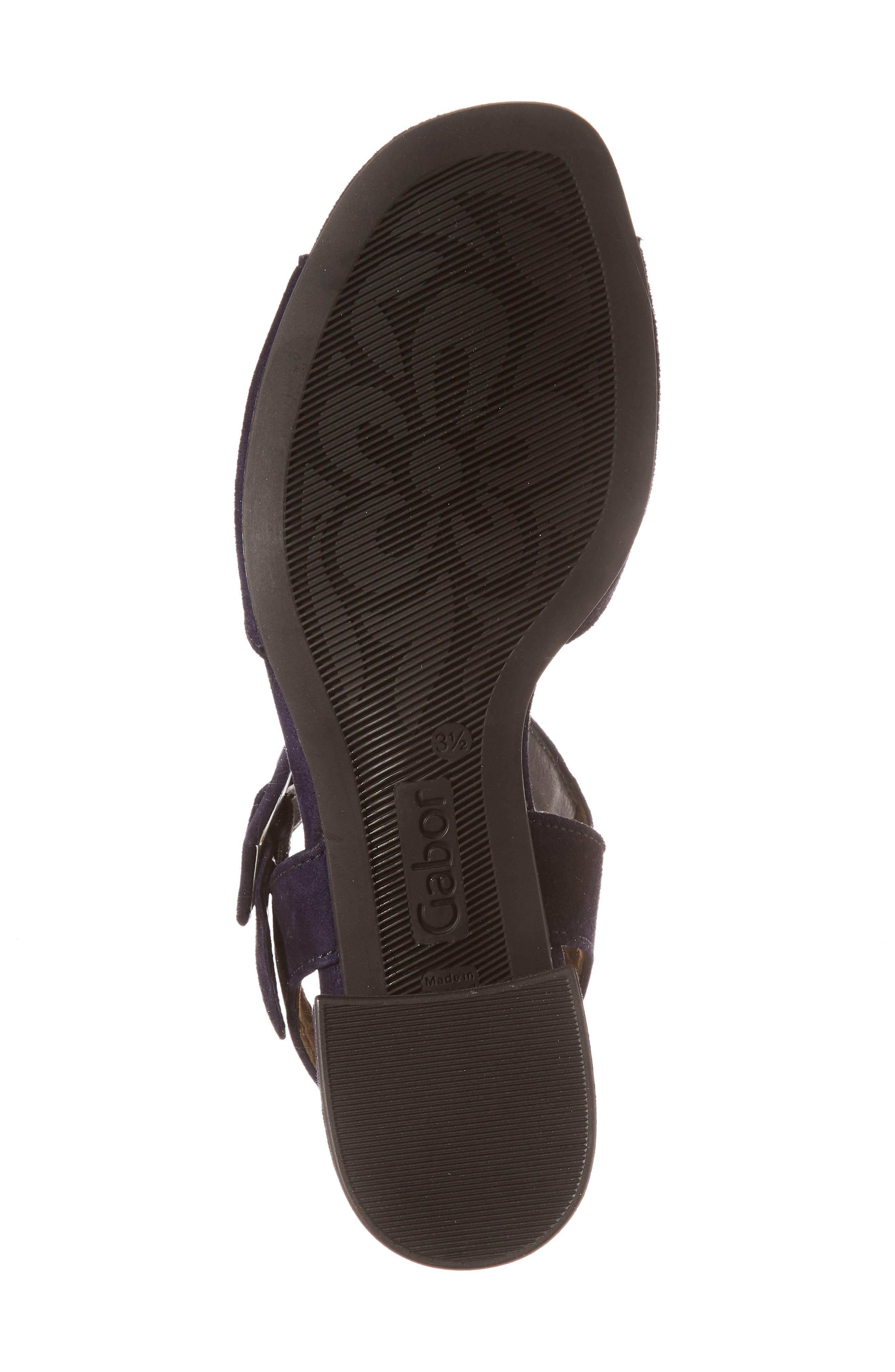 Block Heel Sandal,                             Alternate thumbnail 6, color,                             Navy Suede