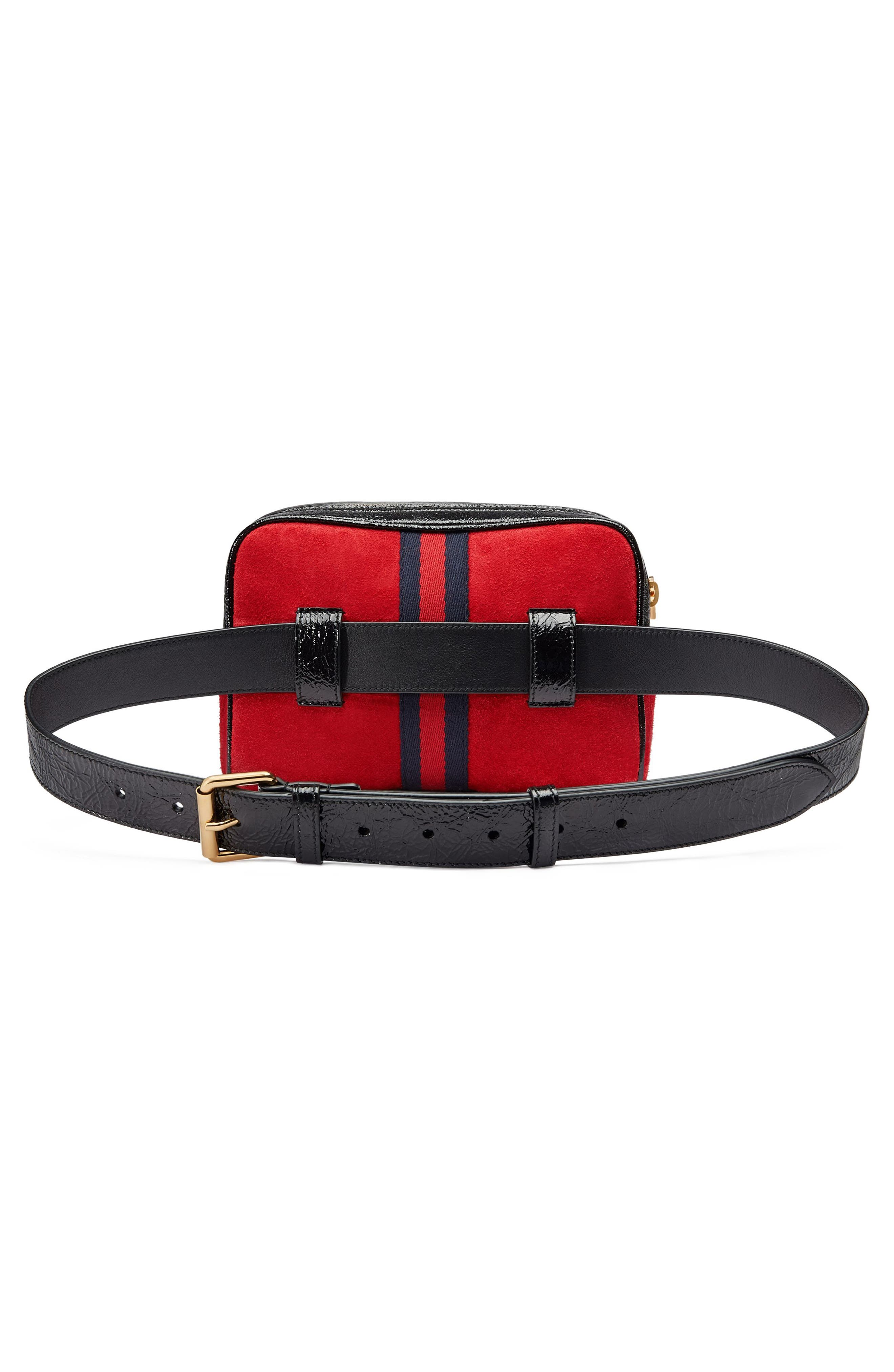 Ophidia Small Suede Belt Bag,                             Alternate thumbnail 2, color,                             Hibiscus Red/ Nero/ Blue