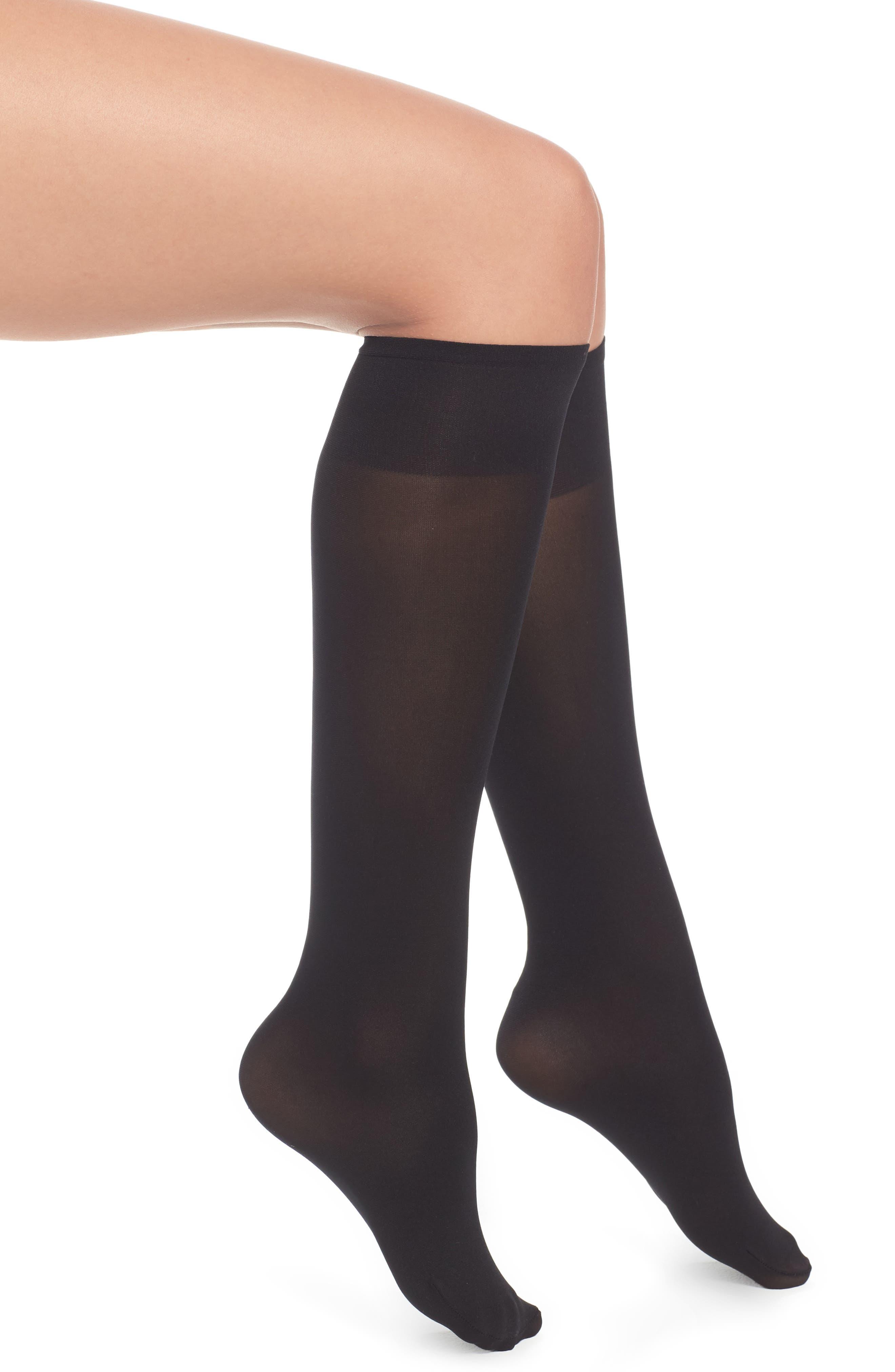 Ingrid Opaque Knee Highs,                             Main thumbnail 1, color,                             Black