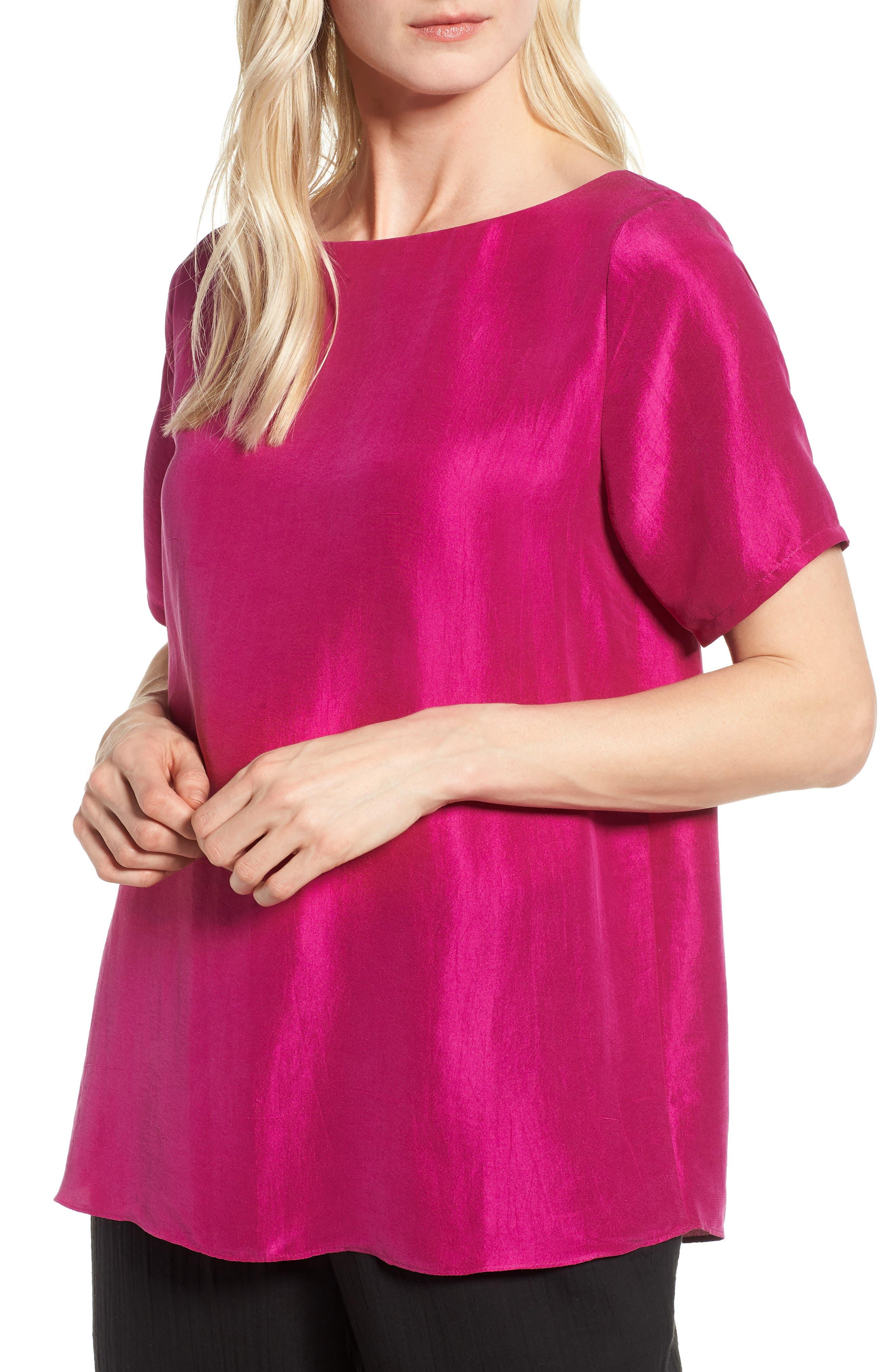 V-Back Silk Top,                         Main,                         color, Cerise