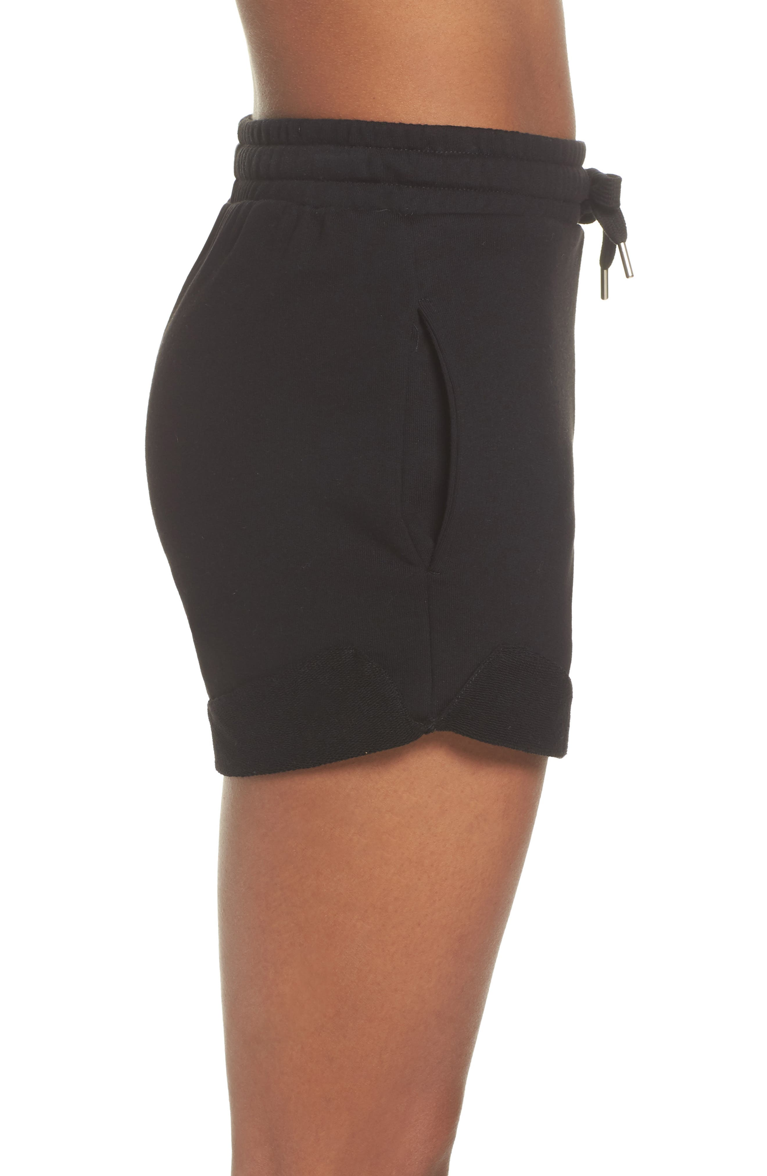 French Terry High Waist Shorts,                             Alternate thumbnail 3, color,                             Black